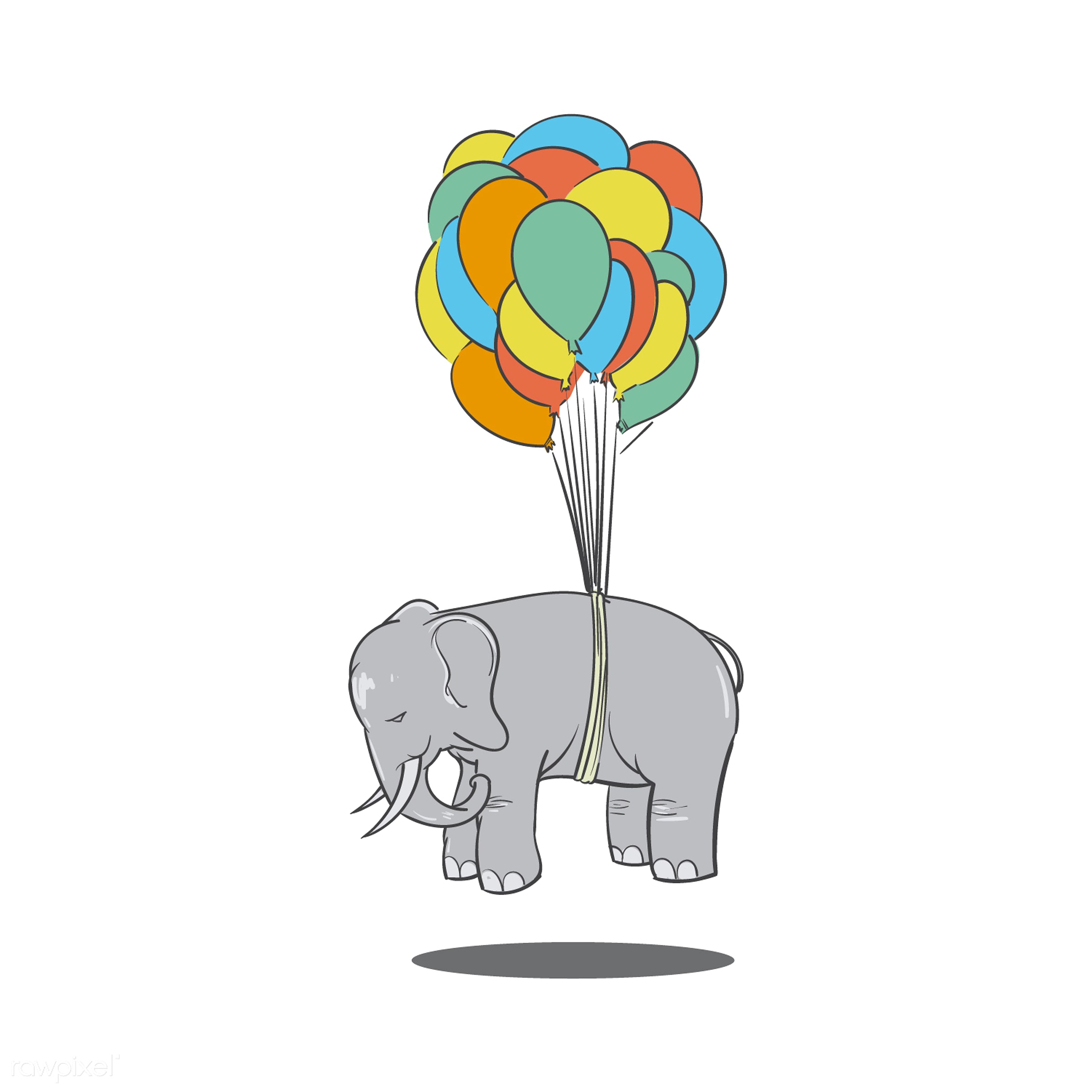 Nothing is impossible idiom vector - art, balloons, creative, creativity, design, drawing, drawn, elephant, floating, flying...