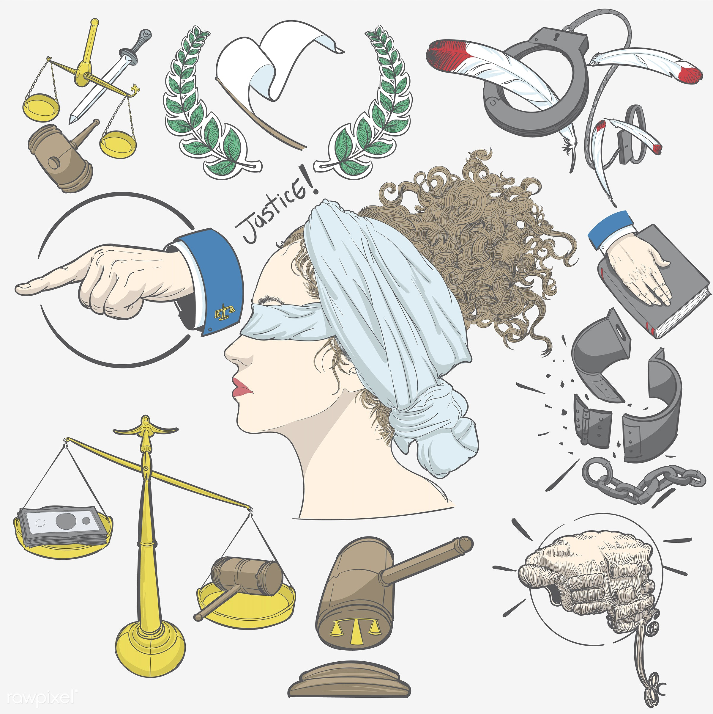 Hand drawing illustration set of justice - art, artwork, collection, court, creative, creativity, design, draw, drawing,...