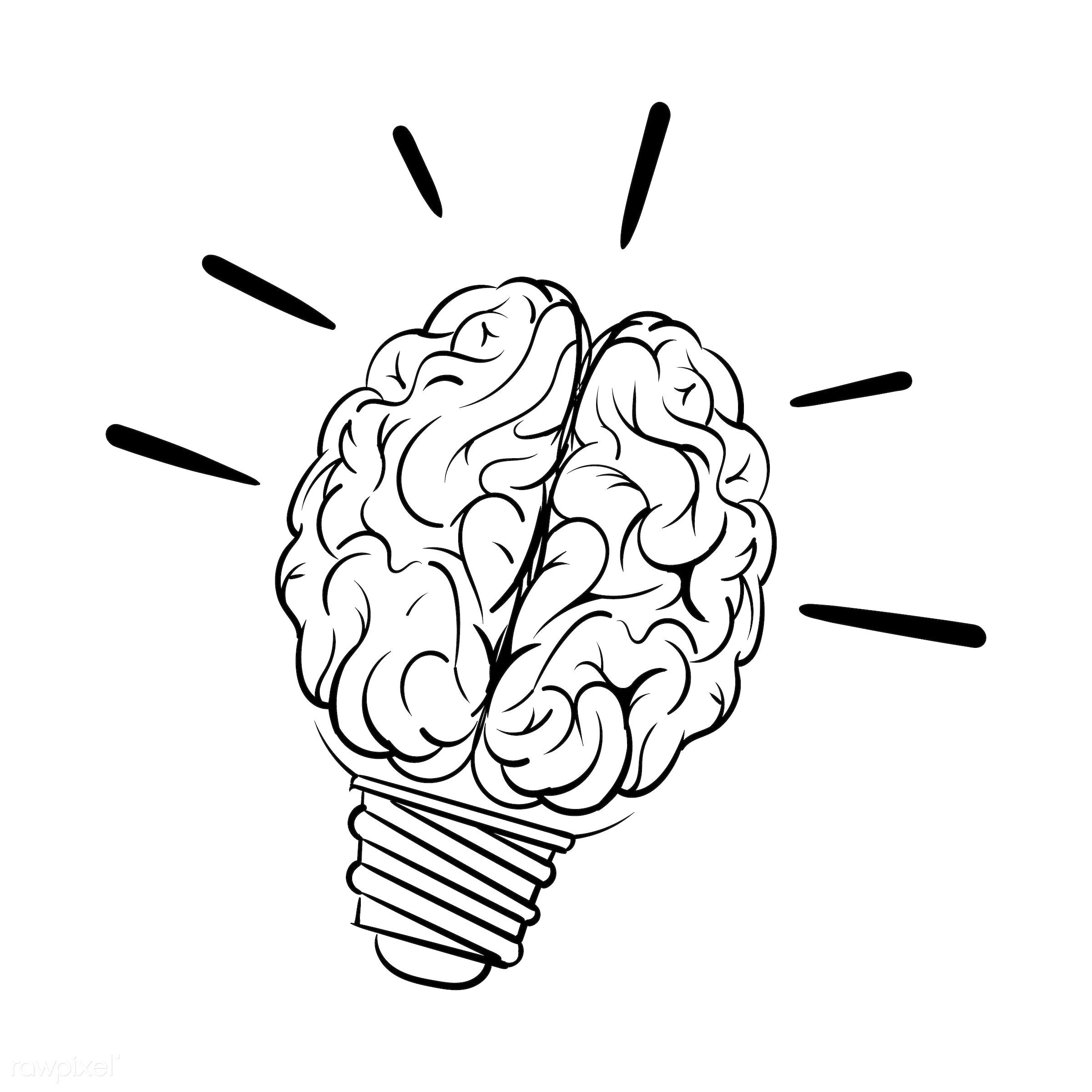 Hand drawn lightbulb creative ideas - brain, art, artwork, attitude, brainstorm, creative, design, draw, drawing, drawn,...
