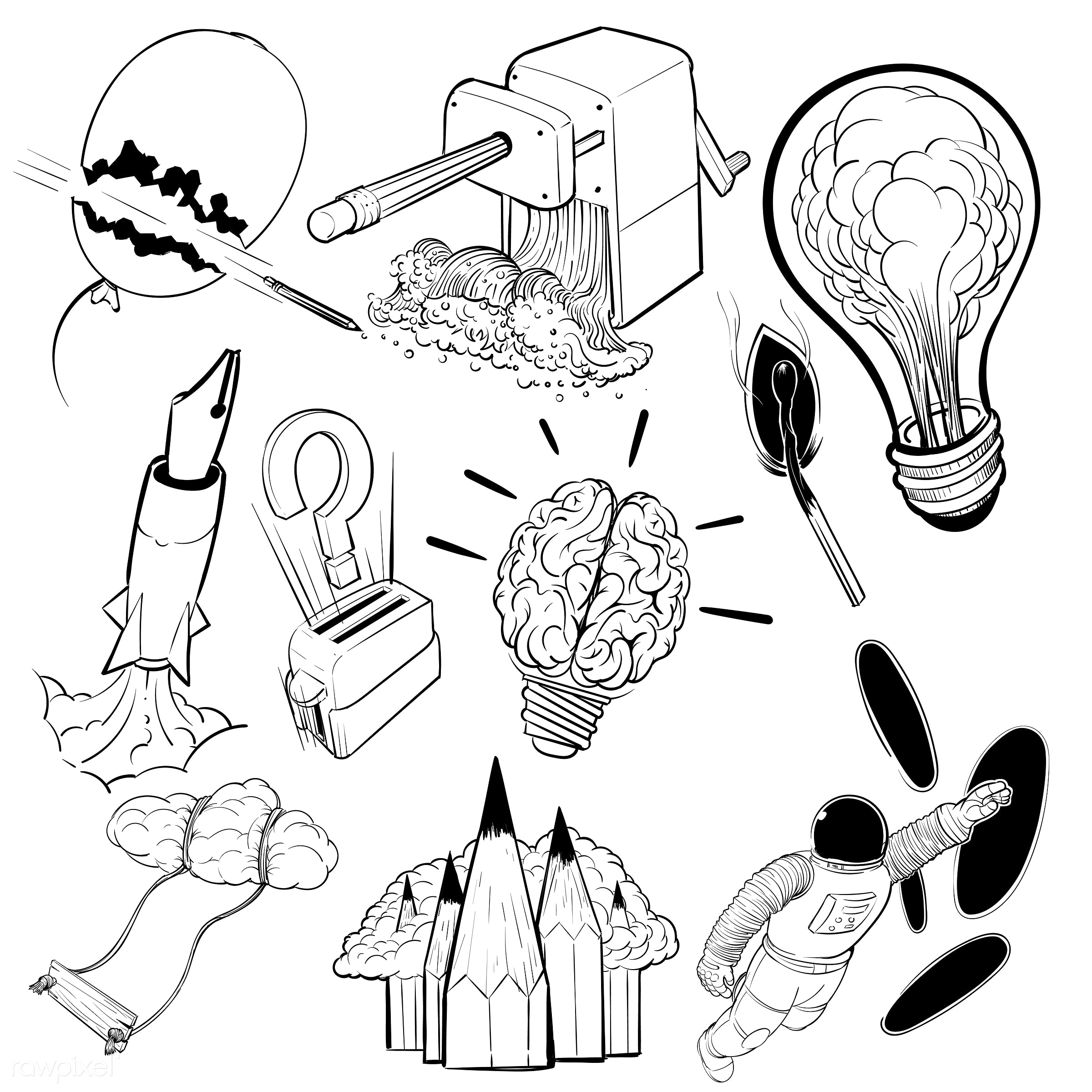 Hand drawing illustration set of creative ideas concept - attitude, brainstorm, art, artwork, collection, creative, design,...