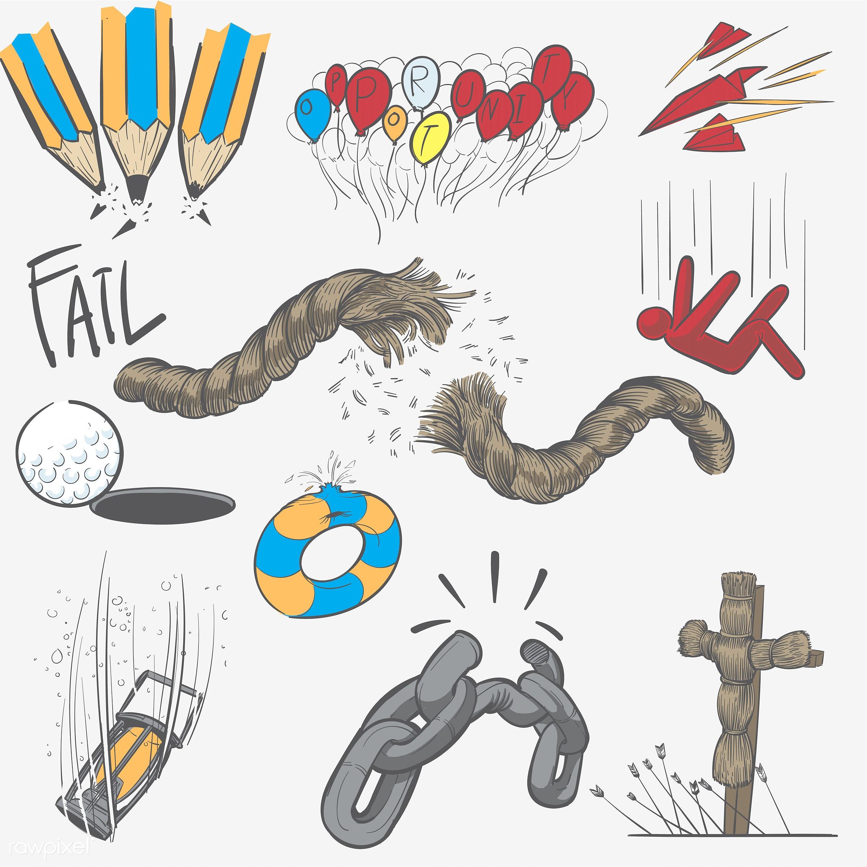 Hand drawing illustration set of fail mission - art, artwork, collection, creative, creativity, decline, design, draw,...