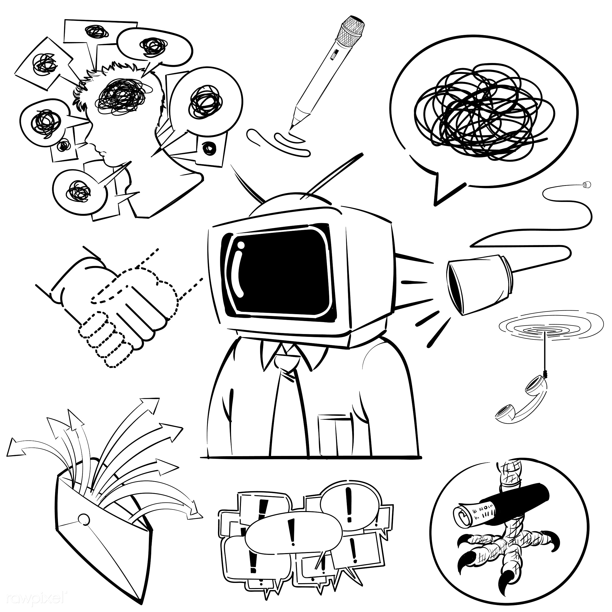Hand drawing illustration set of communication icons - art, artwork, collection, communication, connection, creative,...