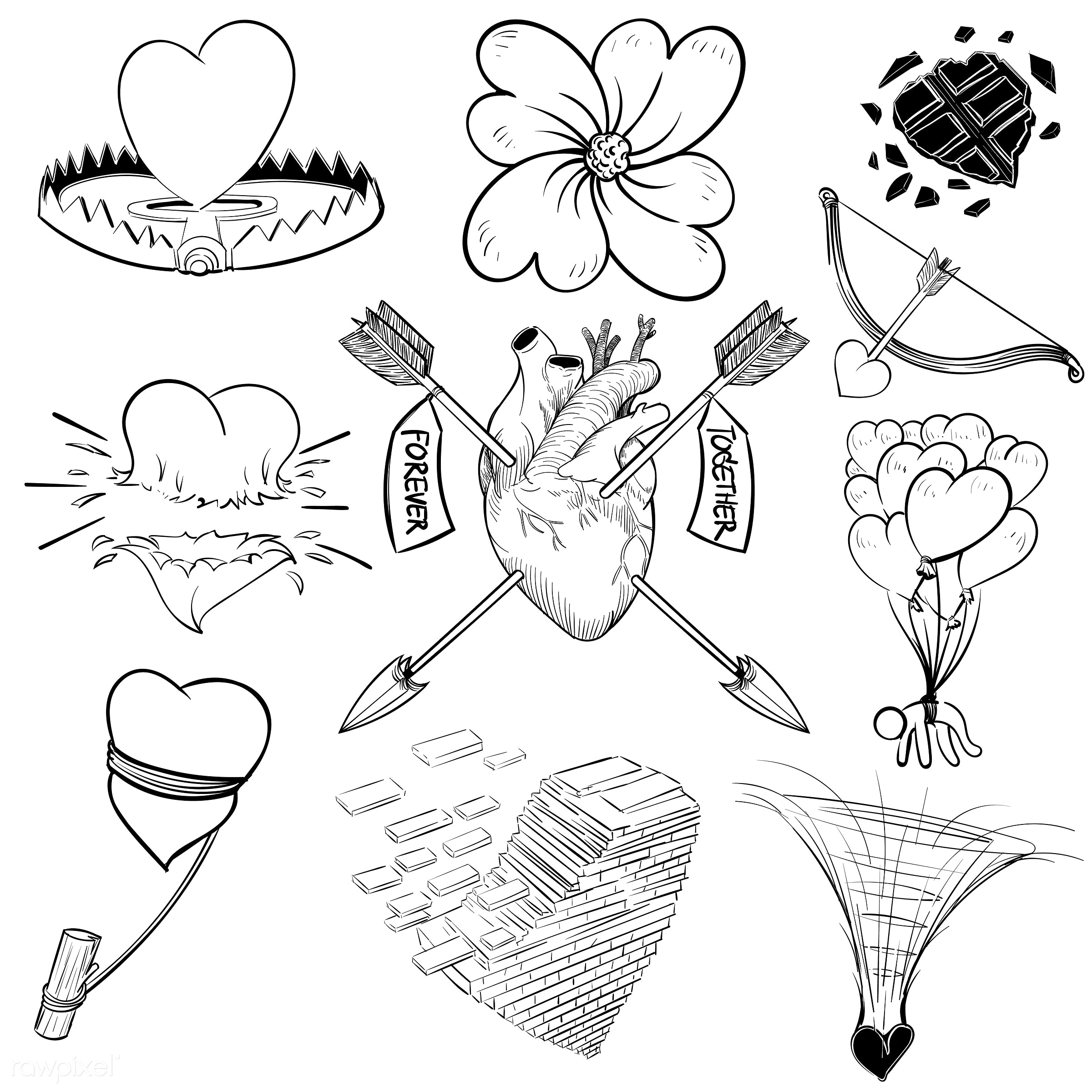 Hand drawing illustration set of love - art, artwork, cares, collection, couple, creative, creativity, design, draw, drawing...