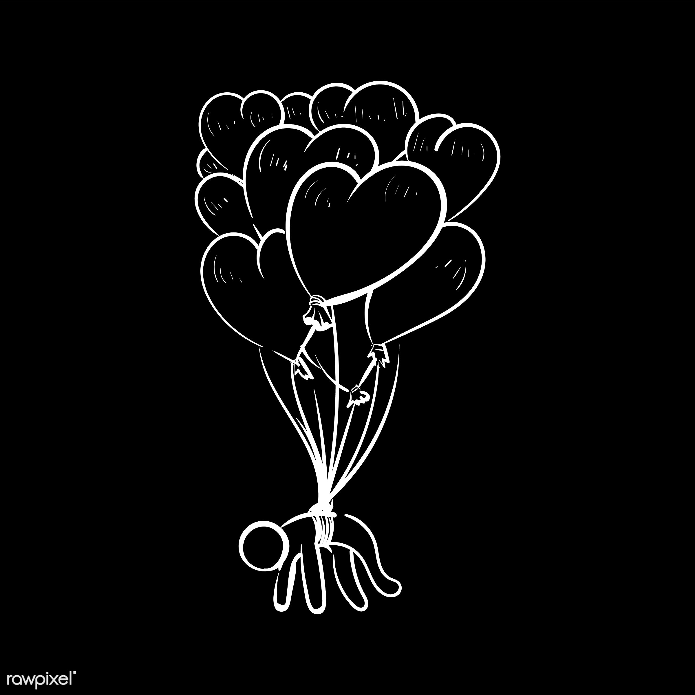Hand drawing illustration of love concept - art, artwork, balloons, cares, collection, couple, creative, creativity, design...