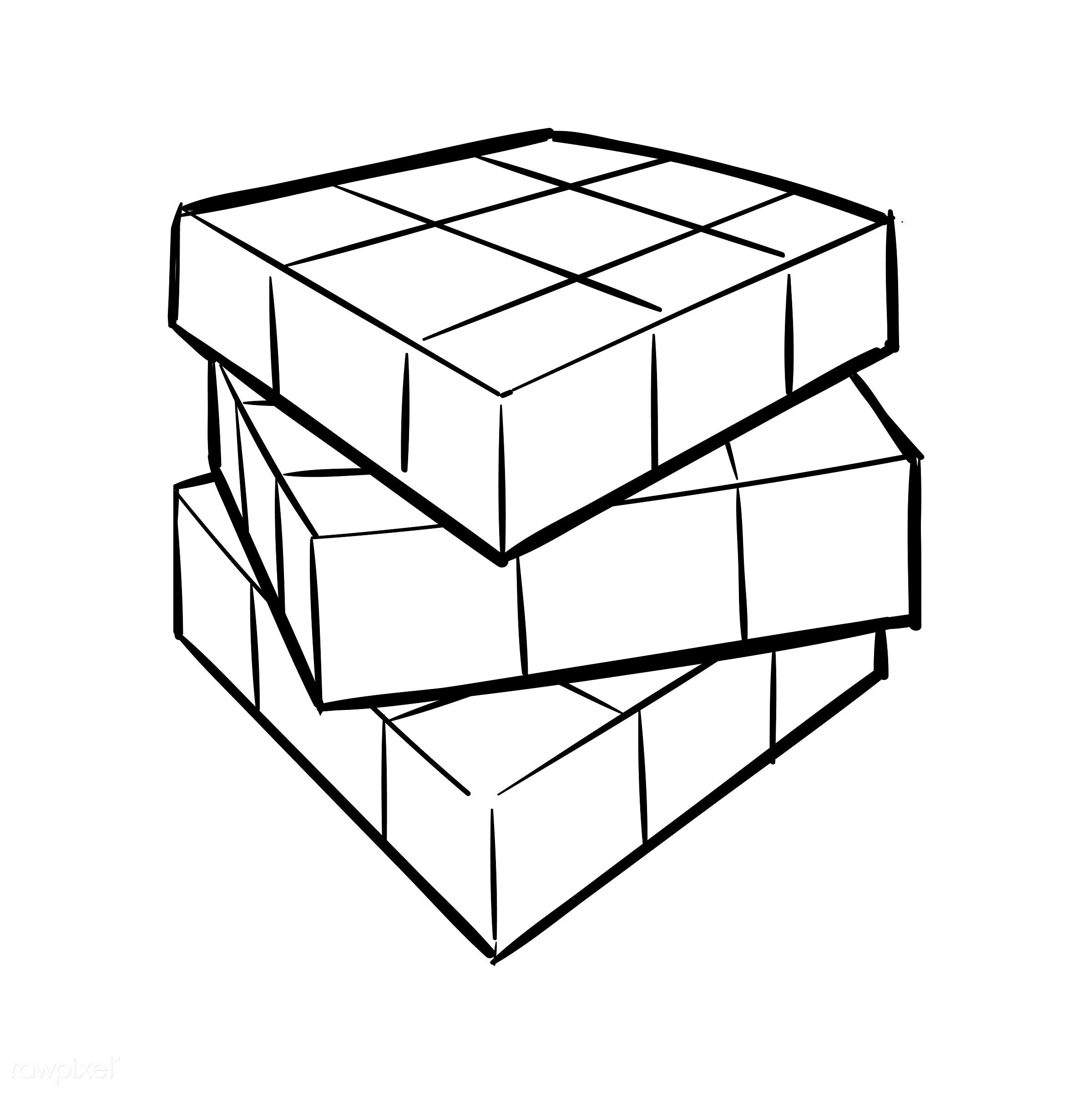 Hand drawing illustration of individuality concept - art, artwork, contrast, creative, creativity, cube, cubic, design,...