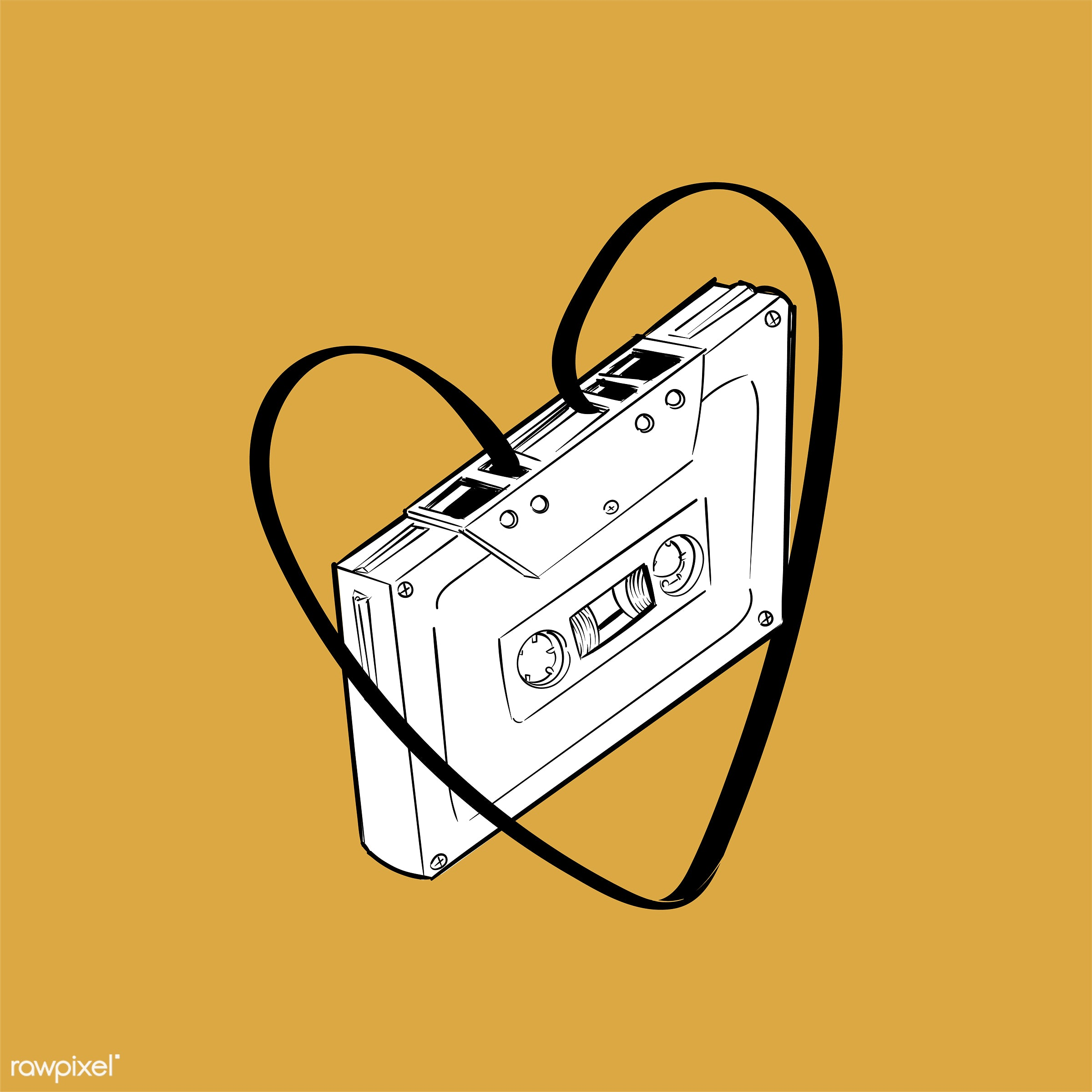 Hand drawing illustration of music entertainment concept - art, artwork, cassette, creative, creativity, design, draw,...