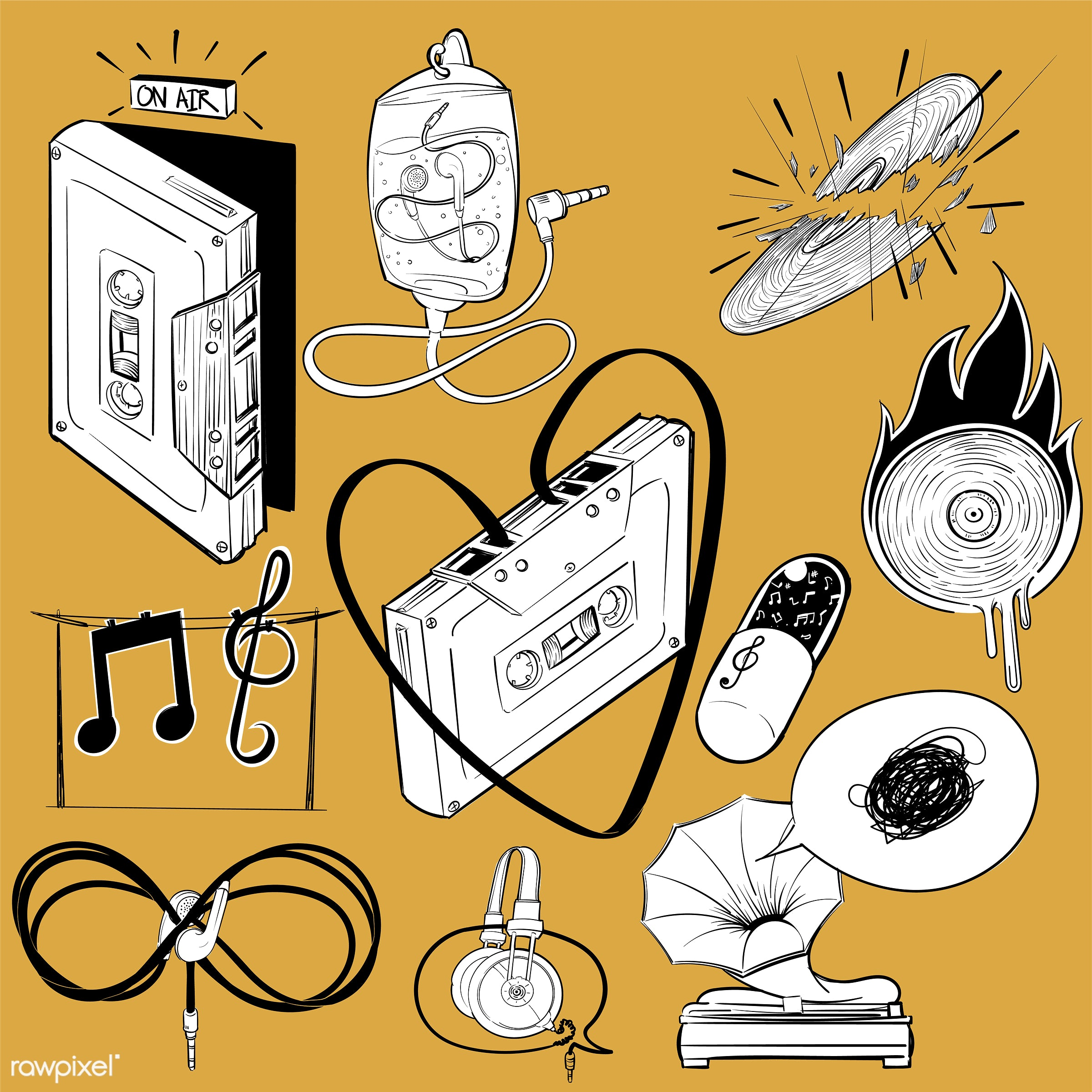 Hand drawing illustration set of music entertainment - music, art, artwork, cassette, collection, creative, creativity,...