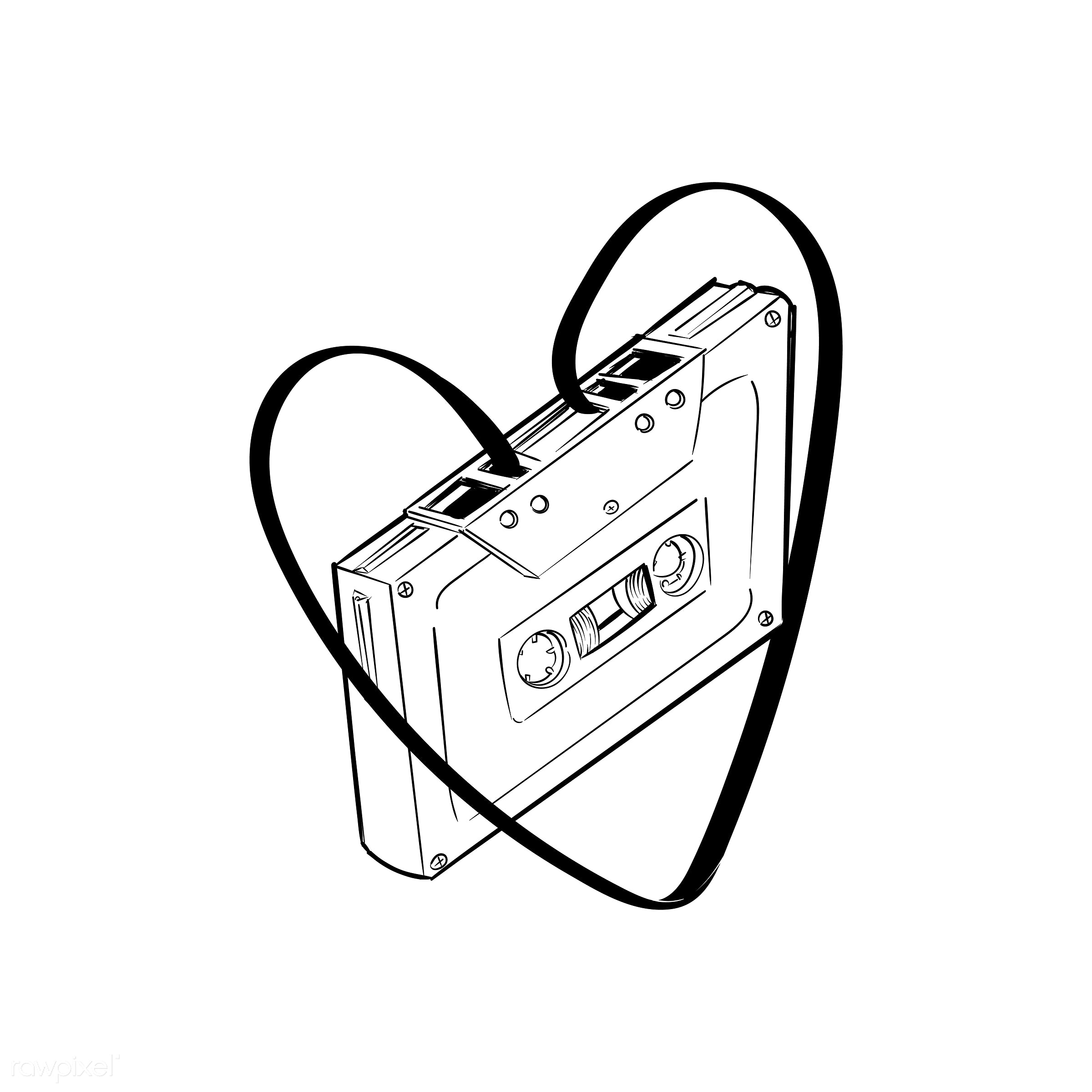Hand drawing illustration of music entertainment concept - art, artwork, cassette, creative, creativity, design, draw,...