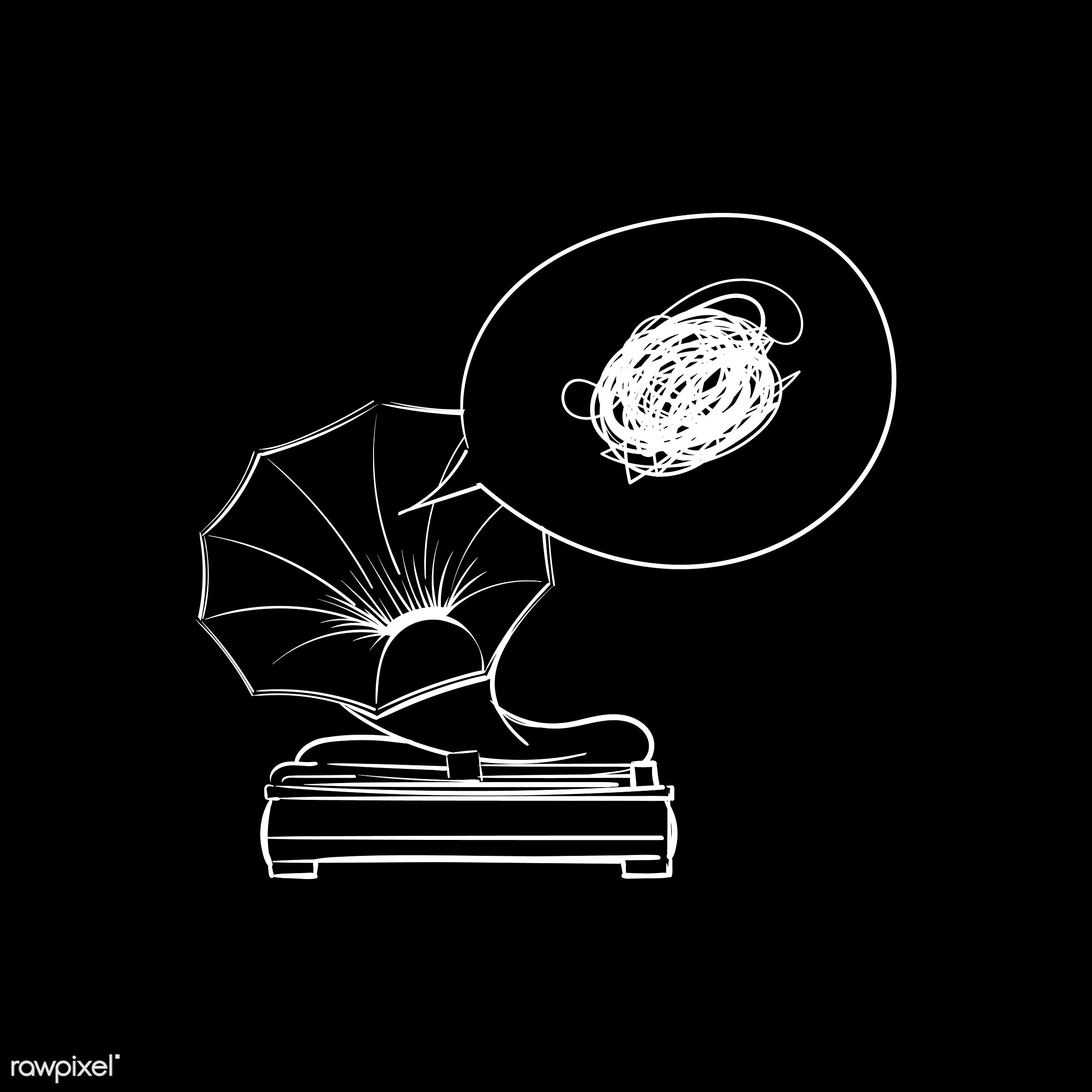 Hand drawing illustration of music entertainment concept - art, artwork, cassette, classic, creative, creativity, design,...