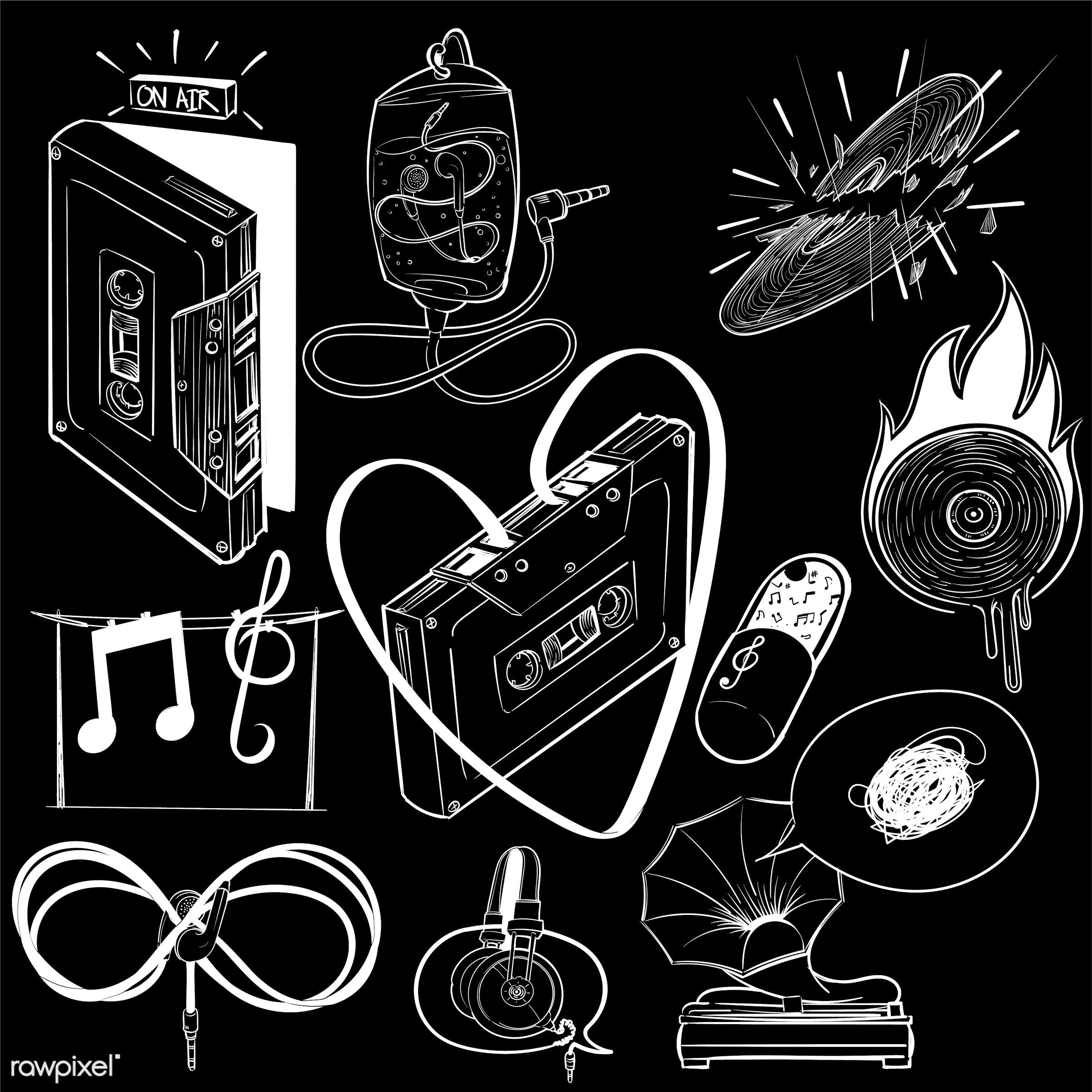 Hand drawing illustration set of music entertainment - art, artwork, cassette, collection, creative, creativity, design,...