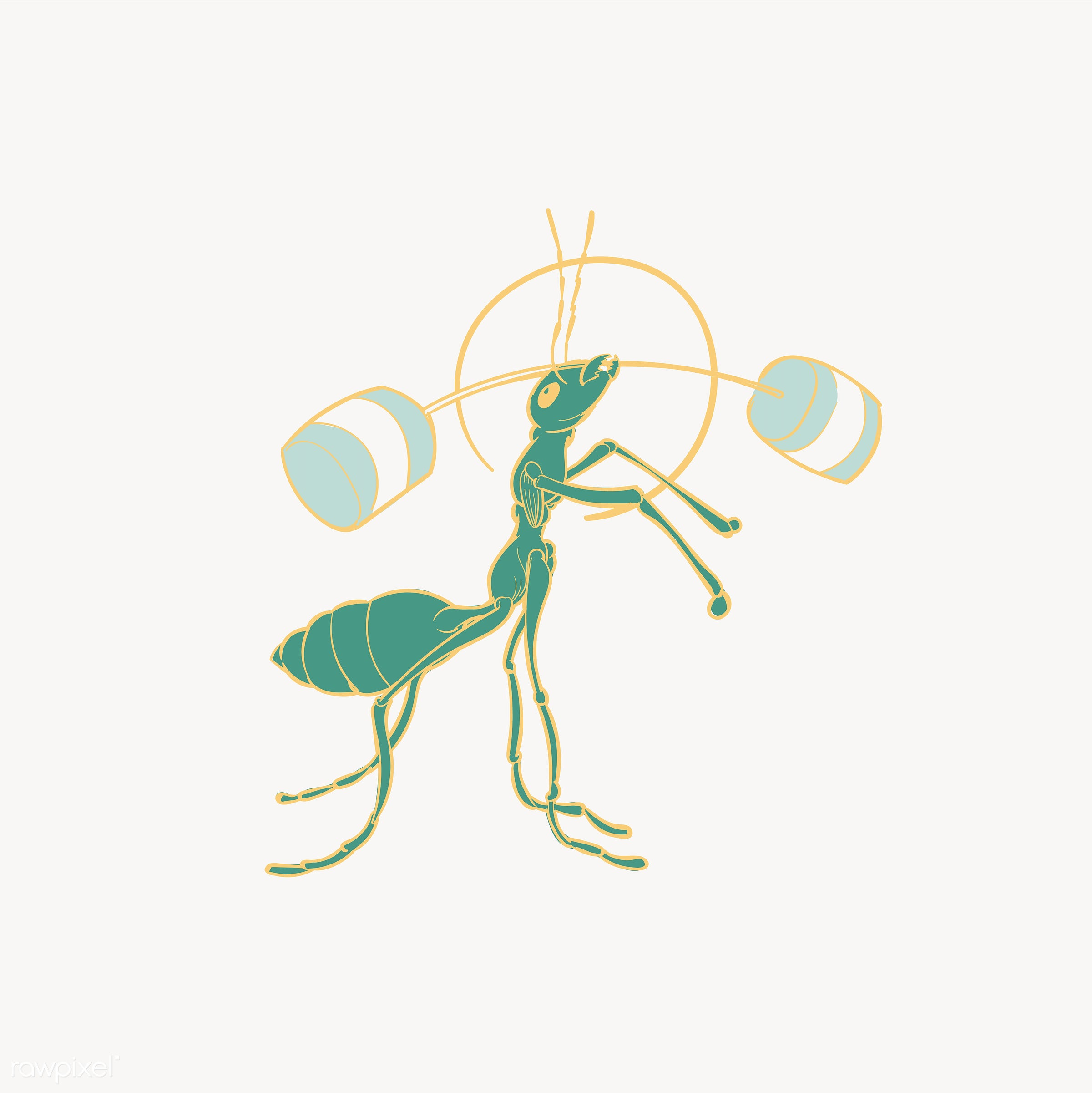 Hand drawing illustration of power strength concept - active, animal, ant, artwork, creative, creativity, design, drawing,...