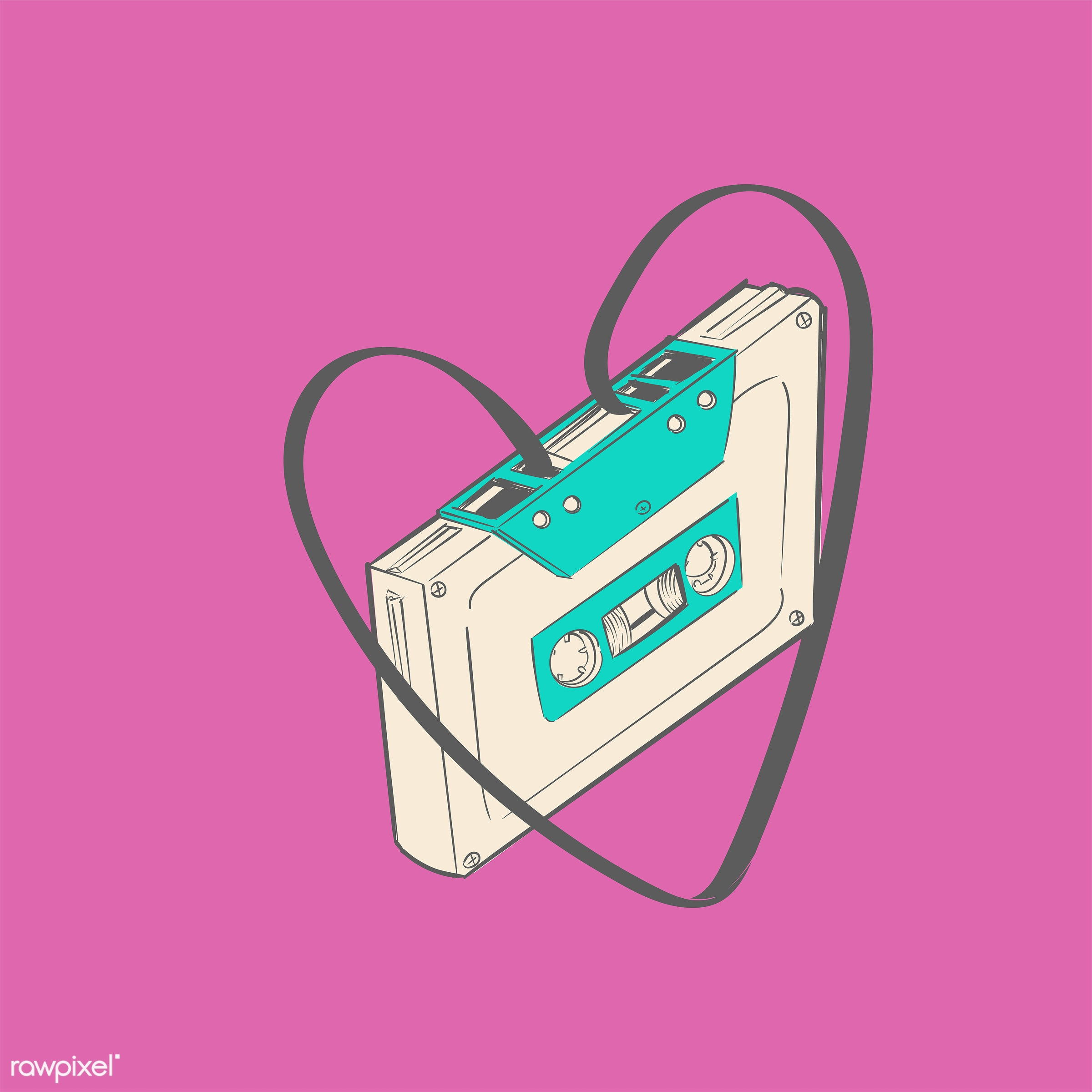 Hand drawing illustration of music entertainment concept - cassette, music, artwork, design, draw, drawing, drawn,...