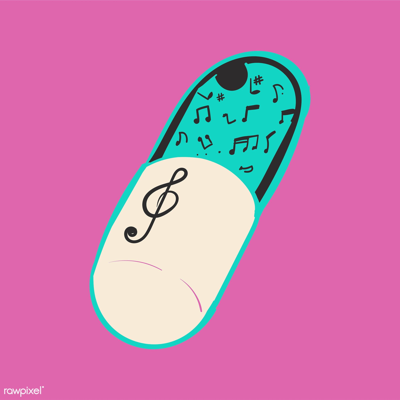 Hand drawing illustration of music entertainment concept - addict, addicted, addiction, artwork, cassette, design, draw,...