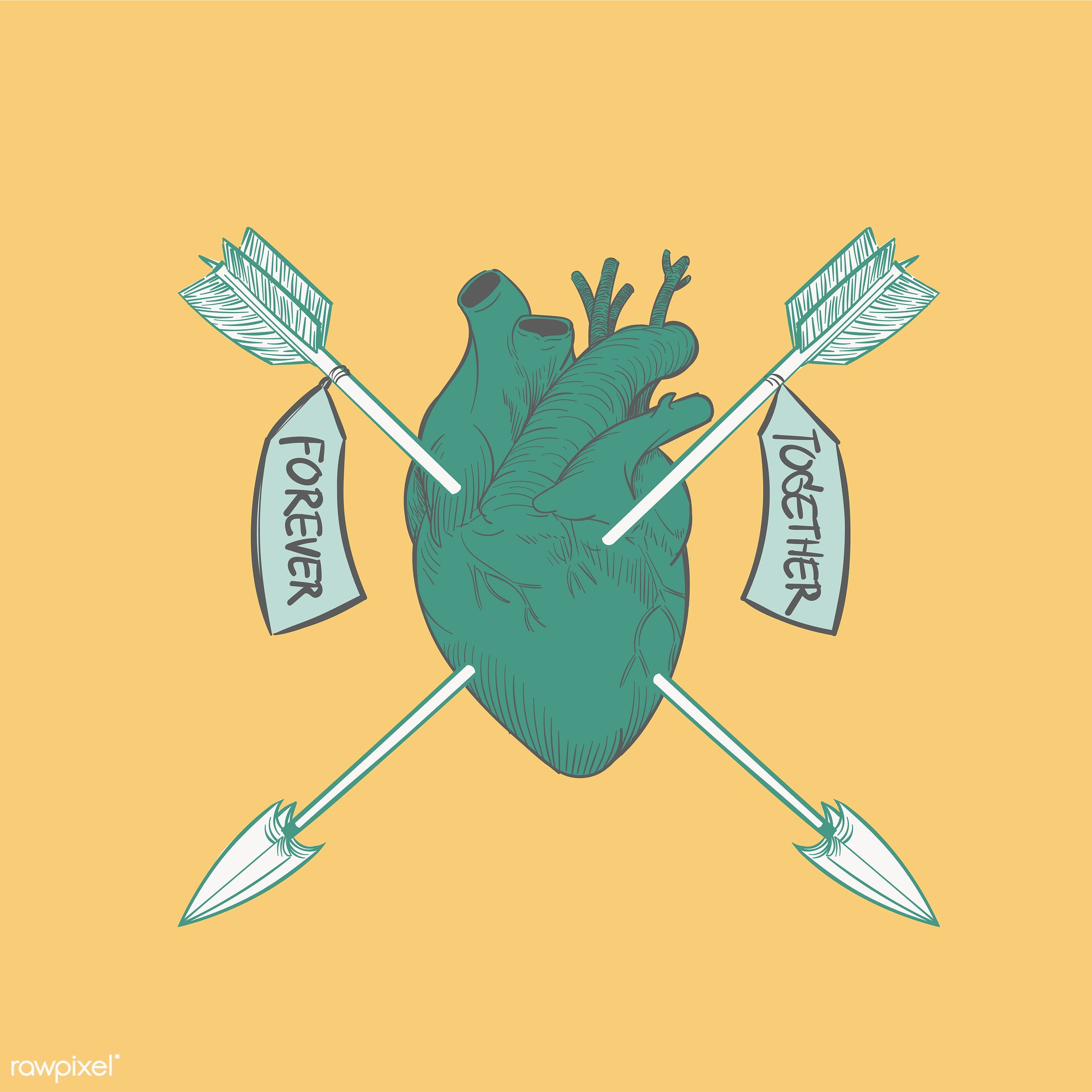 Hand drawing illustration of love concept - arrow, artwork, cares, collection, couple, design, draw, drawing, drawn, emotion...