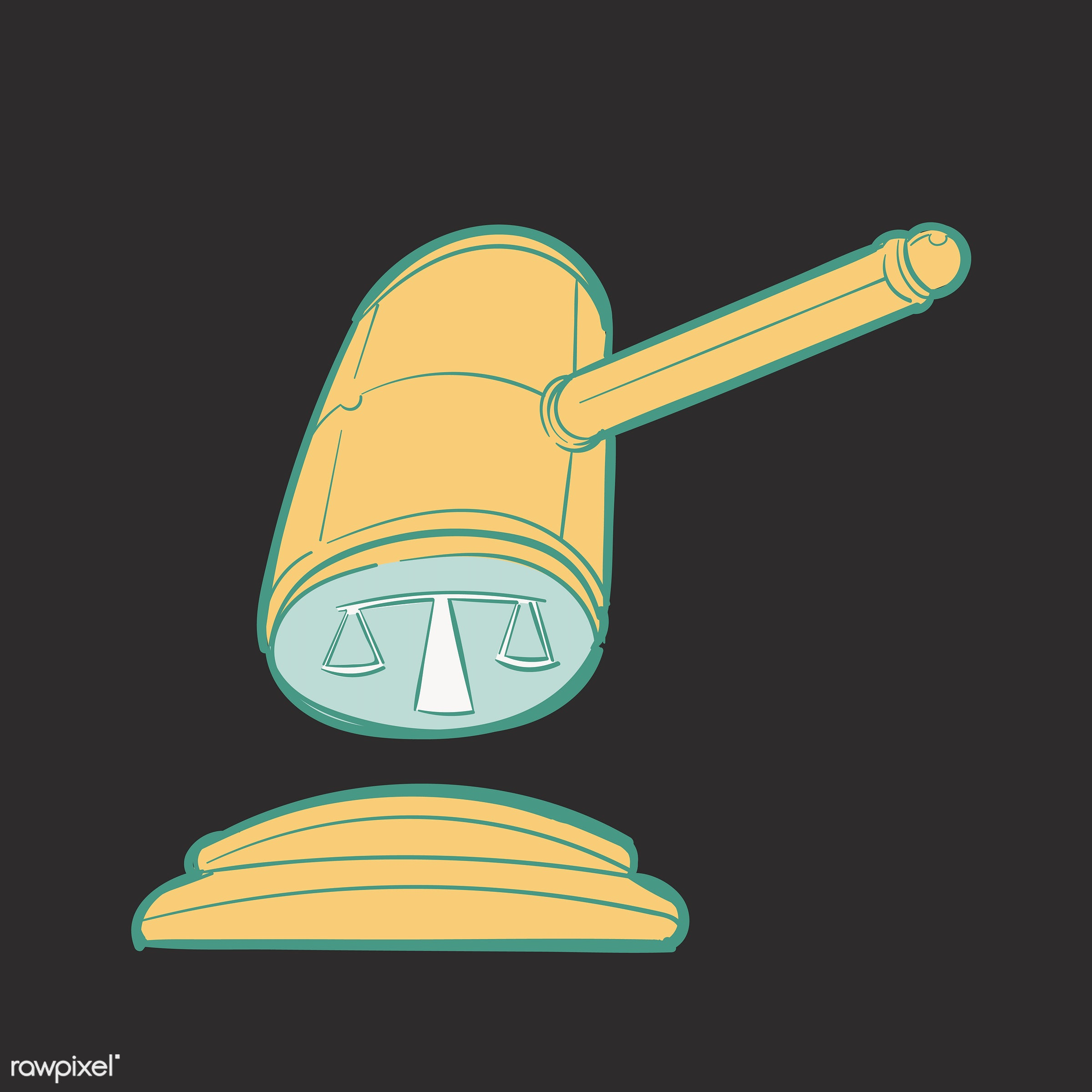 Hand drawing illustration of justice conecept - artwork, court, design, draw, drawing, drawn, equality, gavel.#ok, graphic,...