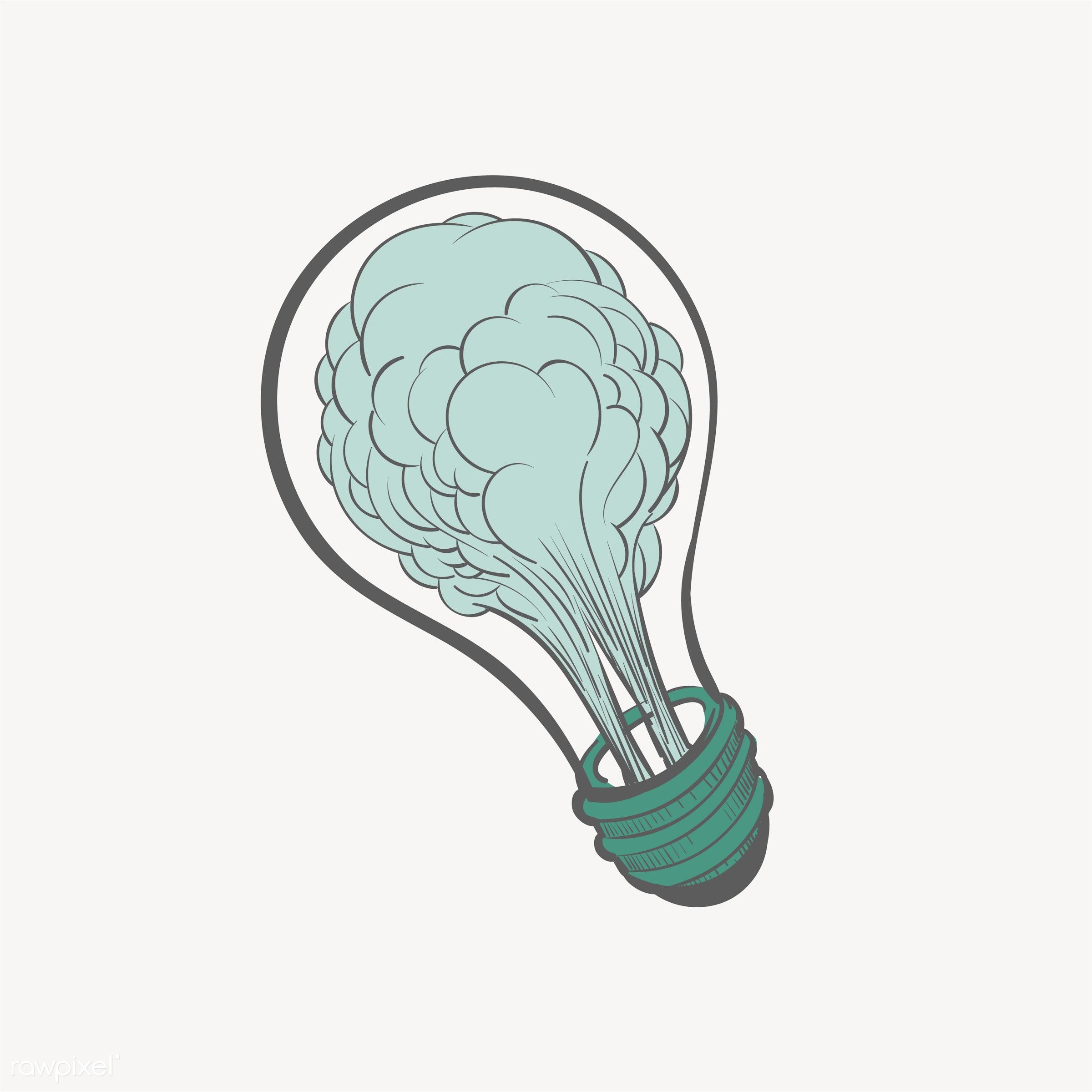 Hand drawing illustration of creative ideas concept - lightbulb, artwork, attitude, brainstorm, creative, design, draw,...