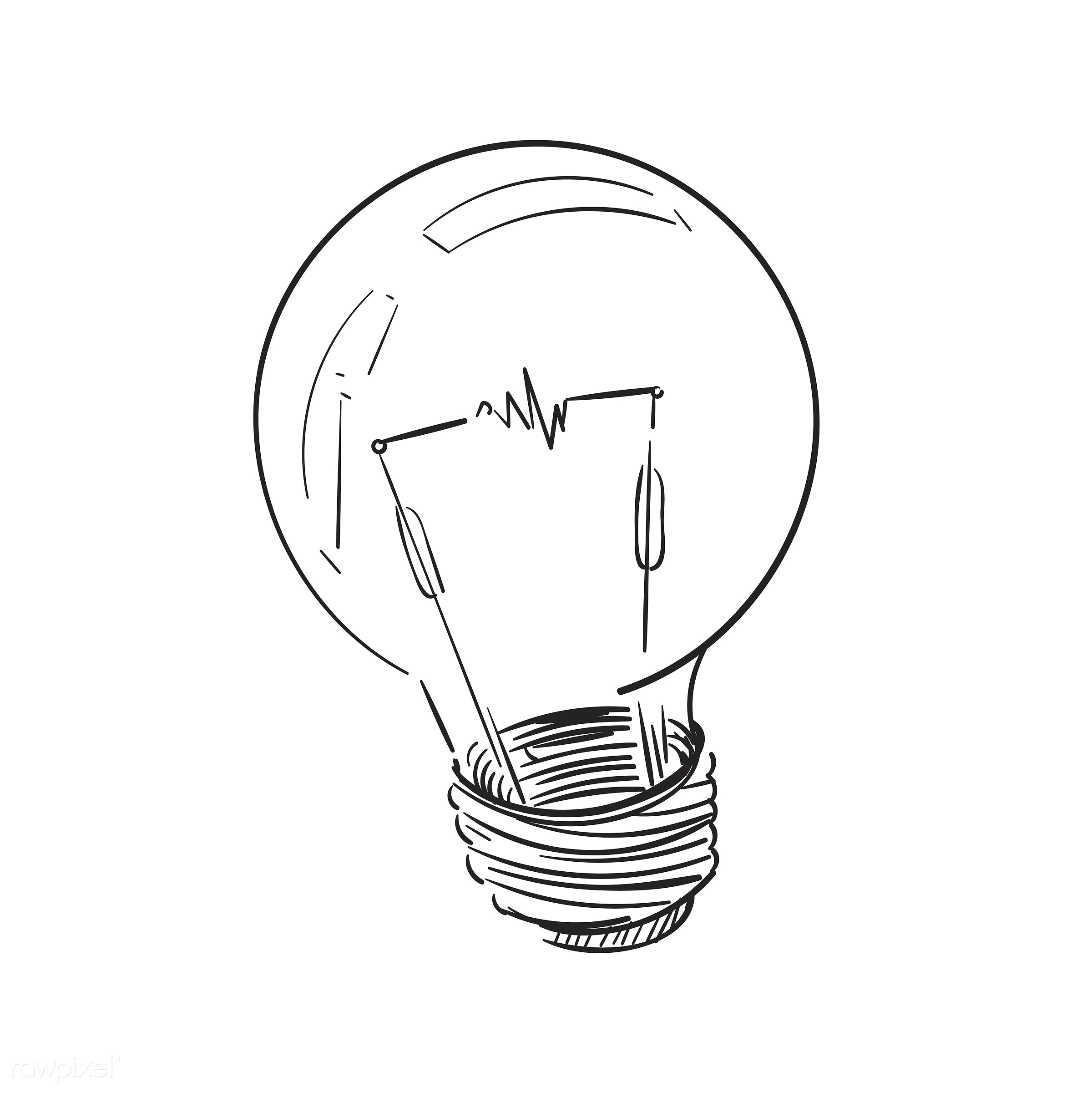 Illustration drawing of light bulb - electricity, electric, light, inspiration, icon, illustration, drawing, vector, symbol...