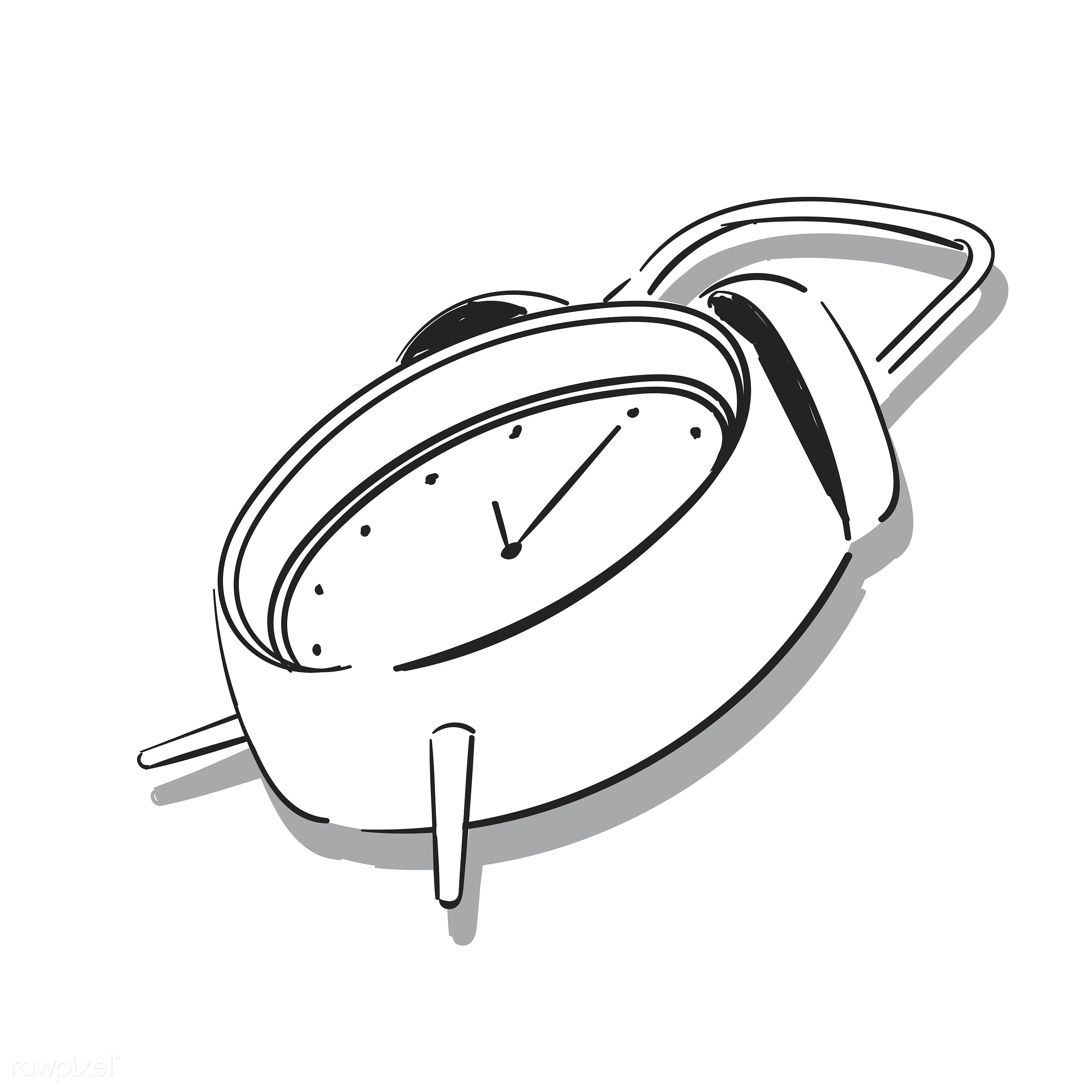 llustration drawing of alarm clock - illustration, icon, time, alarm, object, clock, art, minute, sketch, vintage, vector,...