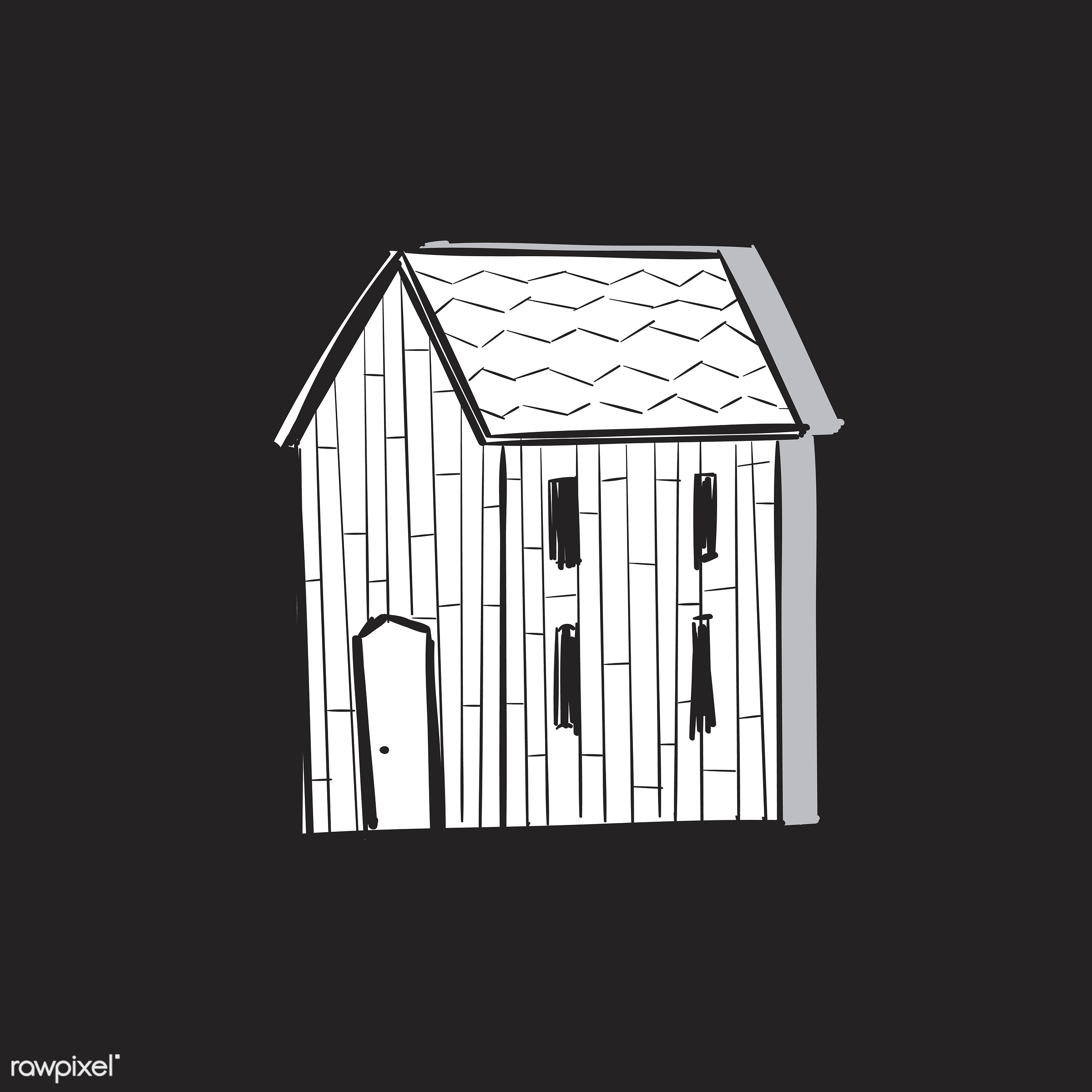 Hand drawing illustration of lifestyle concept - house, artwork, barn, creativity, design, draw, drawing, drawn, freedom,...