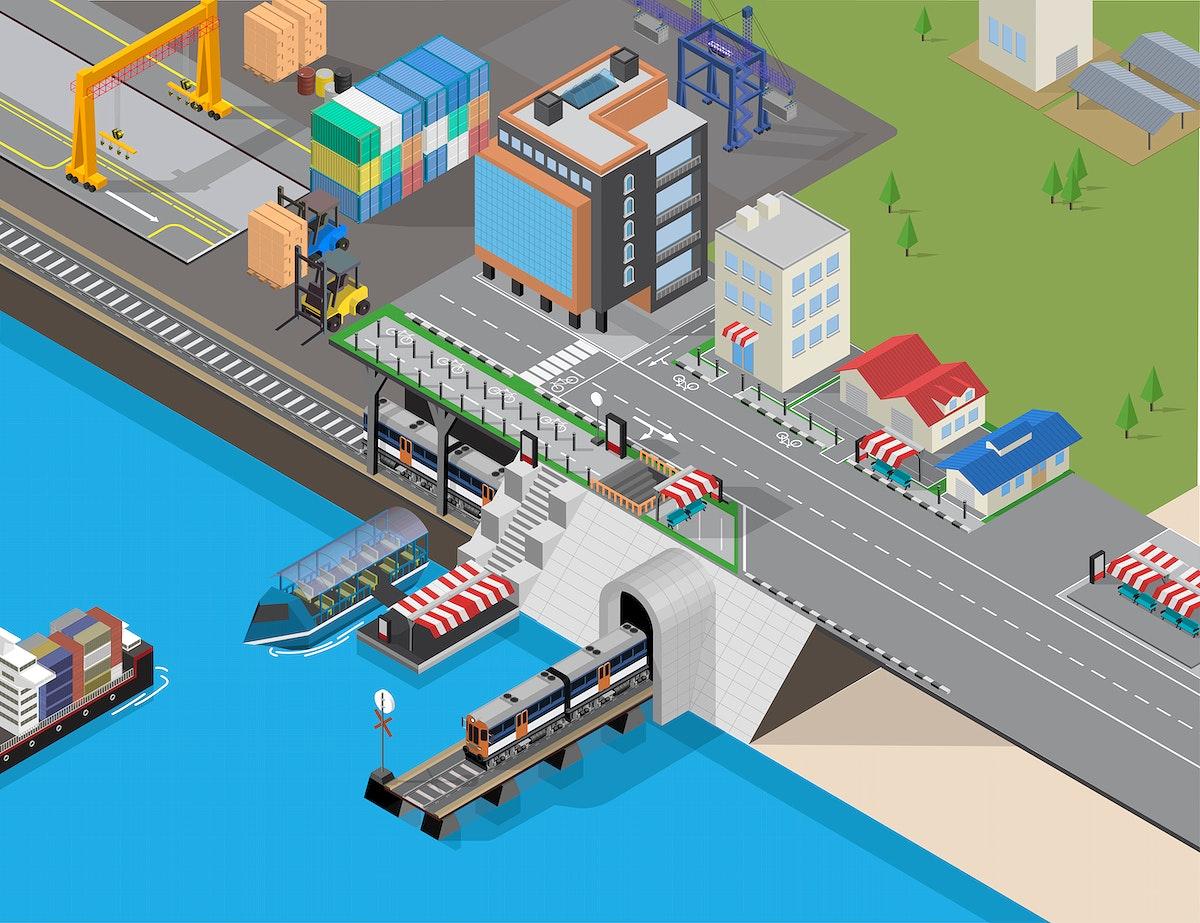 Logistics business industrial cityscape vector