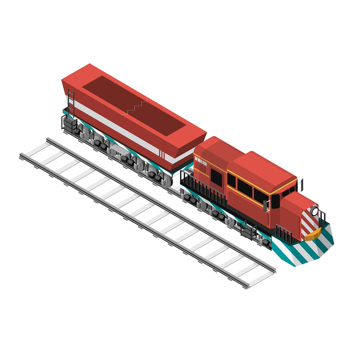 Train on a railroad isolated on background