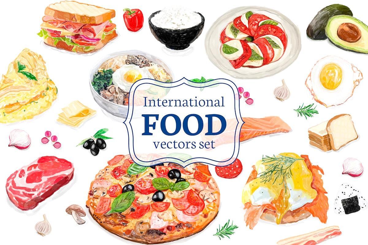 Hand drawn international food watercolor style