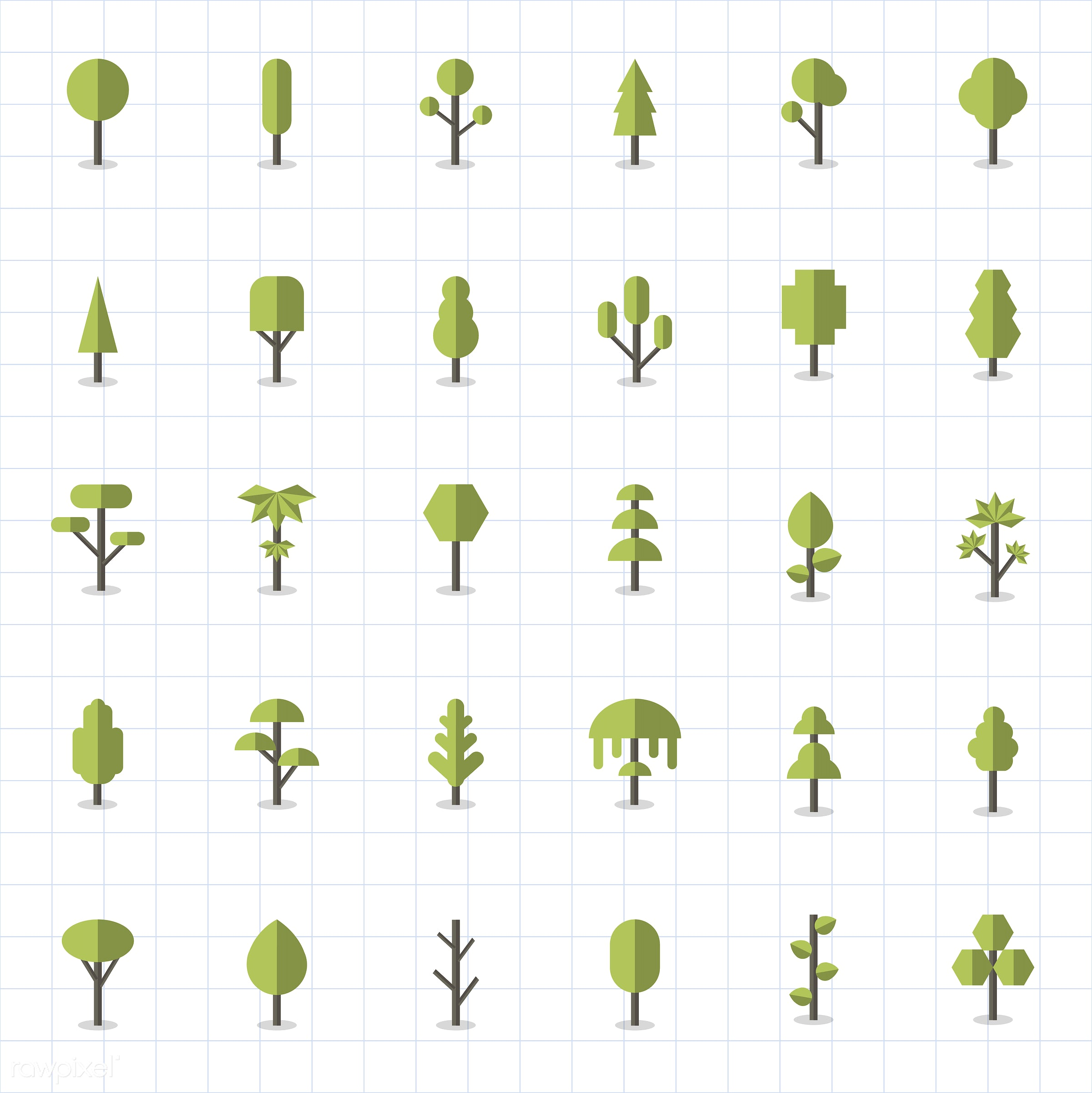 Collection of plants and tree vectors - vector, graphic, illustration, icon, symbol, collection, set, colorful, cute, plant...
