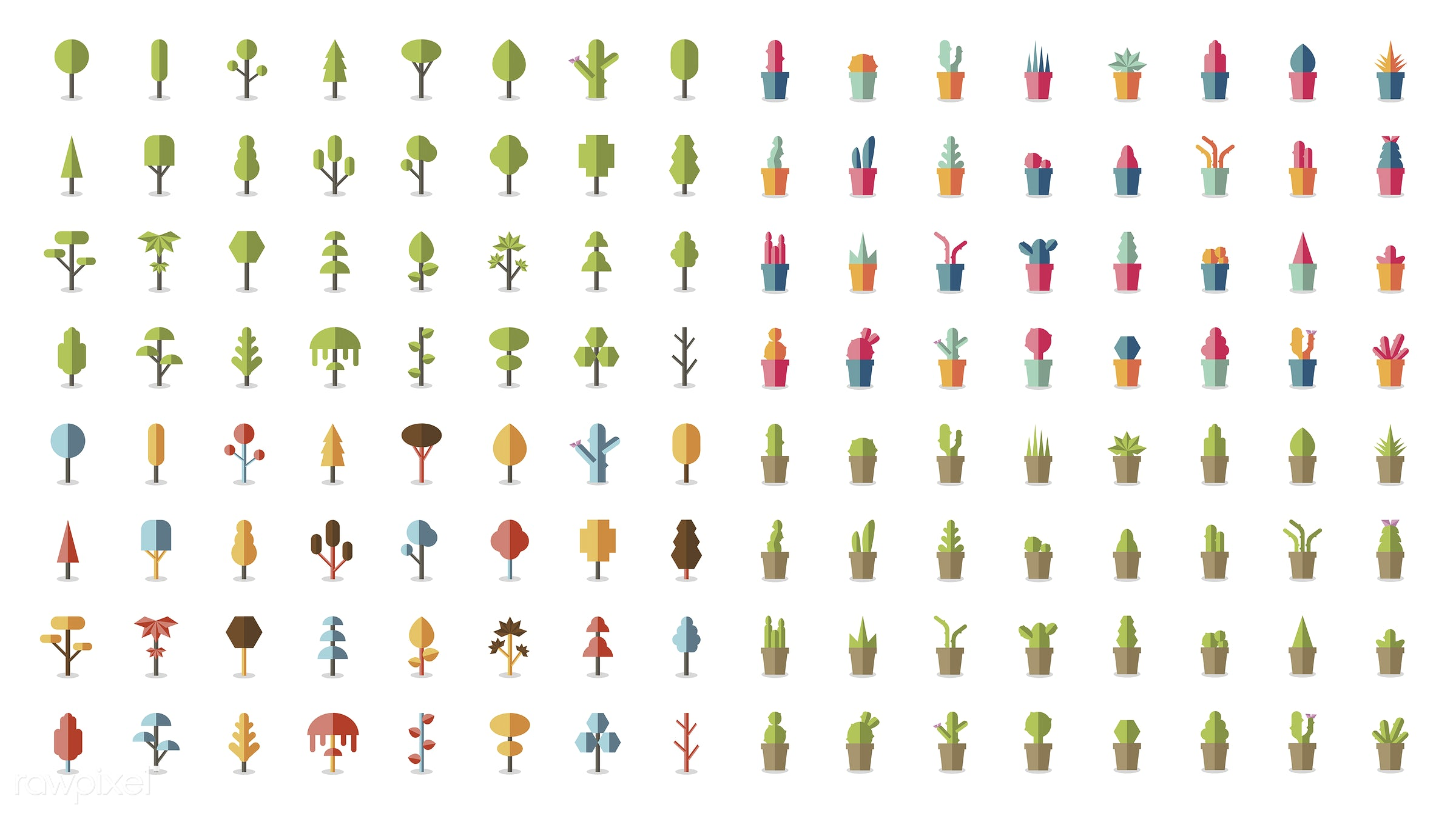 Collection of plants and tree vectors - brown, bush, cacti, cactus, collection, colorful, cute, gardening, graphic, green,...