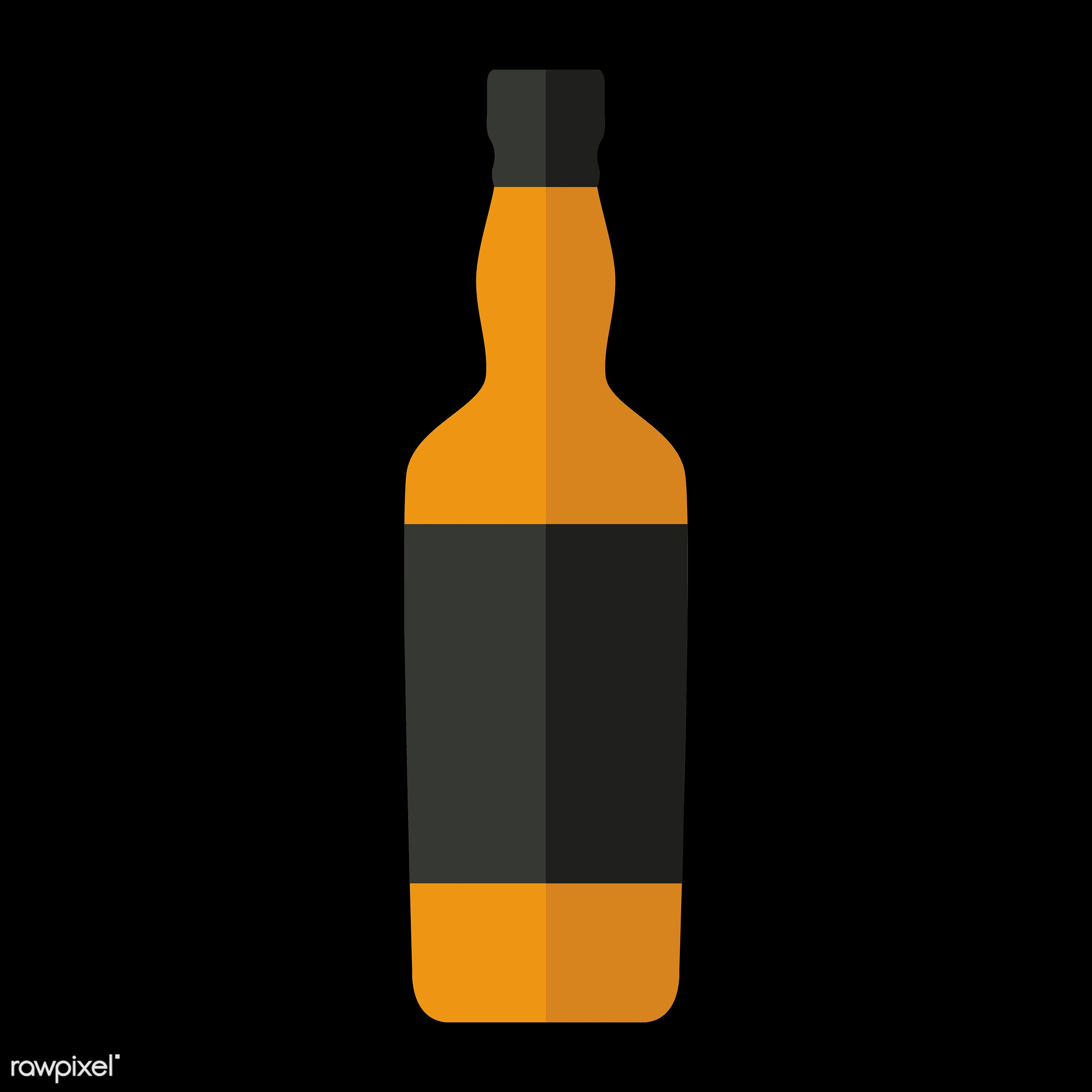 Liquor bottle vector - vector, graphic, illustration, icon, symbol, colorful, cute, drink, beverage, water, liquor, vodka,...