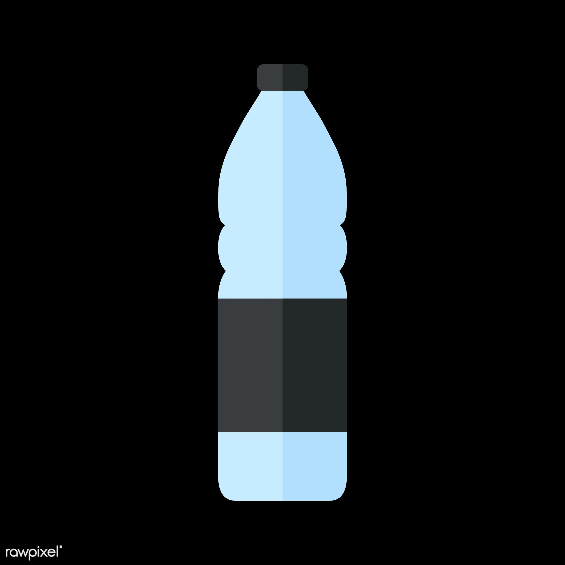 vector, graphic, illustration, icon, symbol, colorful, cute, drink, beverage, water, water bottle, plastic bottle, black