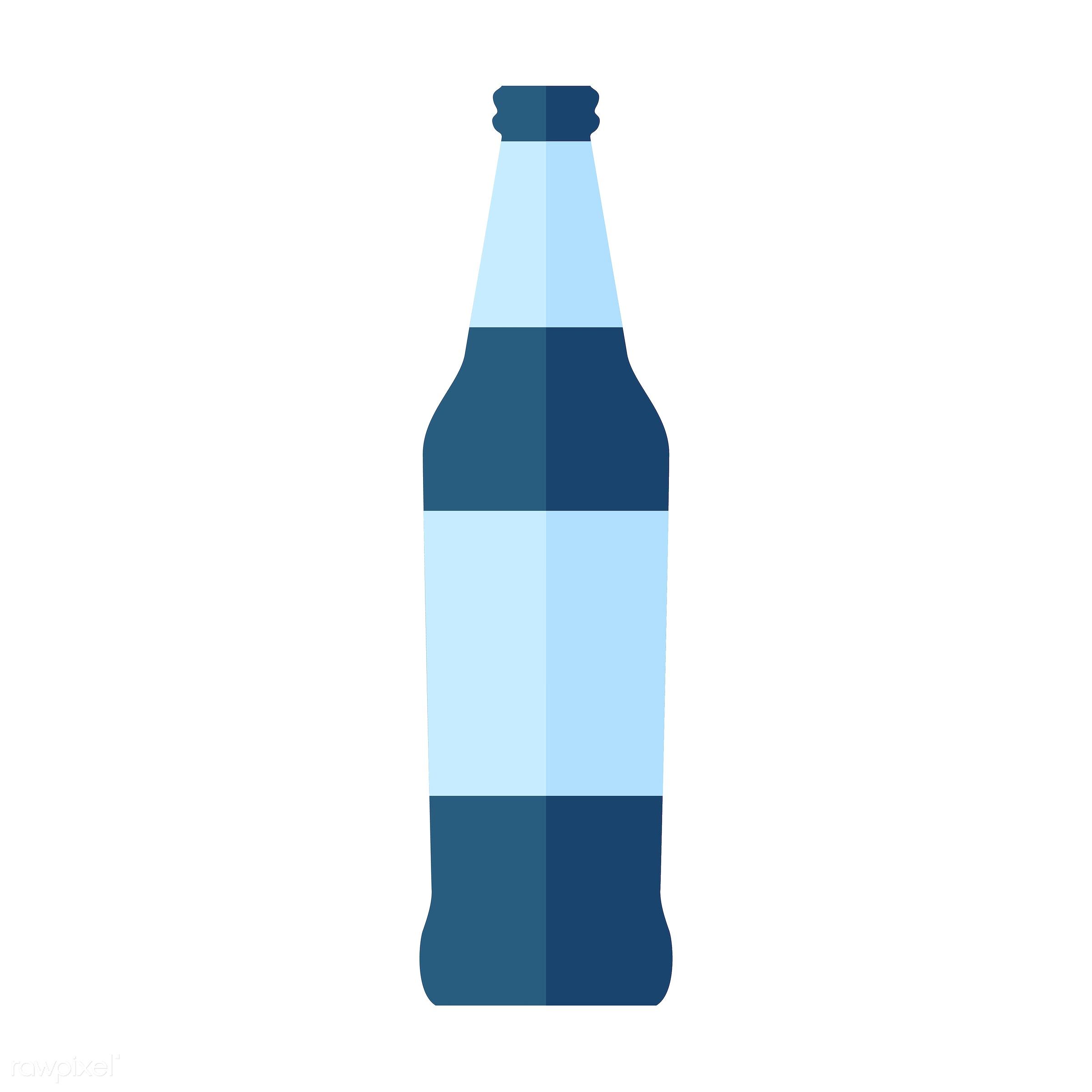 vector, graphic, illustration, icon, symbol, colorful, cute, drink, beverage, water, blue, beer bottle, glass bottle, beer
