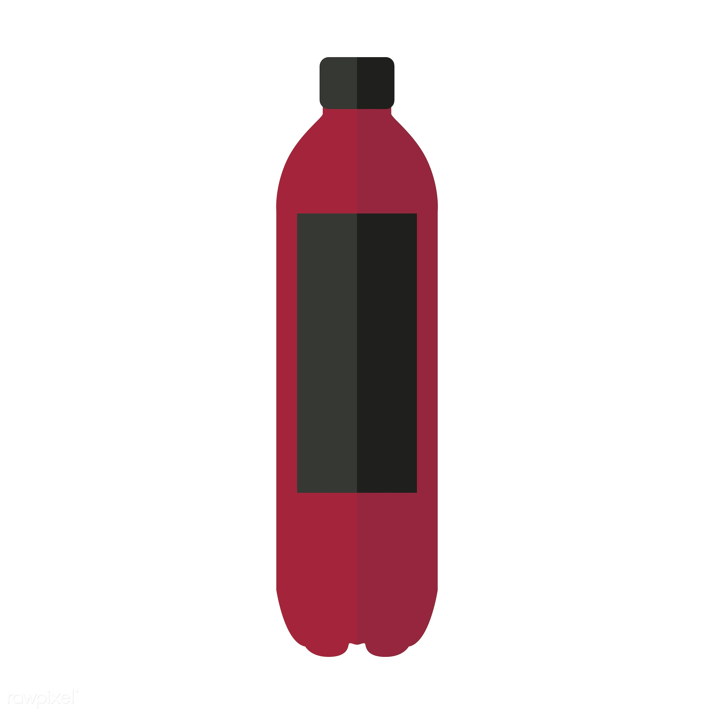 vector, graphic, illustration, icon, symbol, colorful, cute, drink, beverage, water, red, black, plastic bottle, sports drink