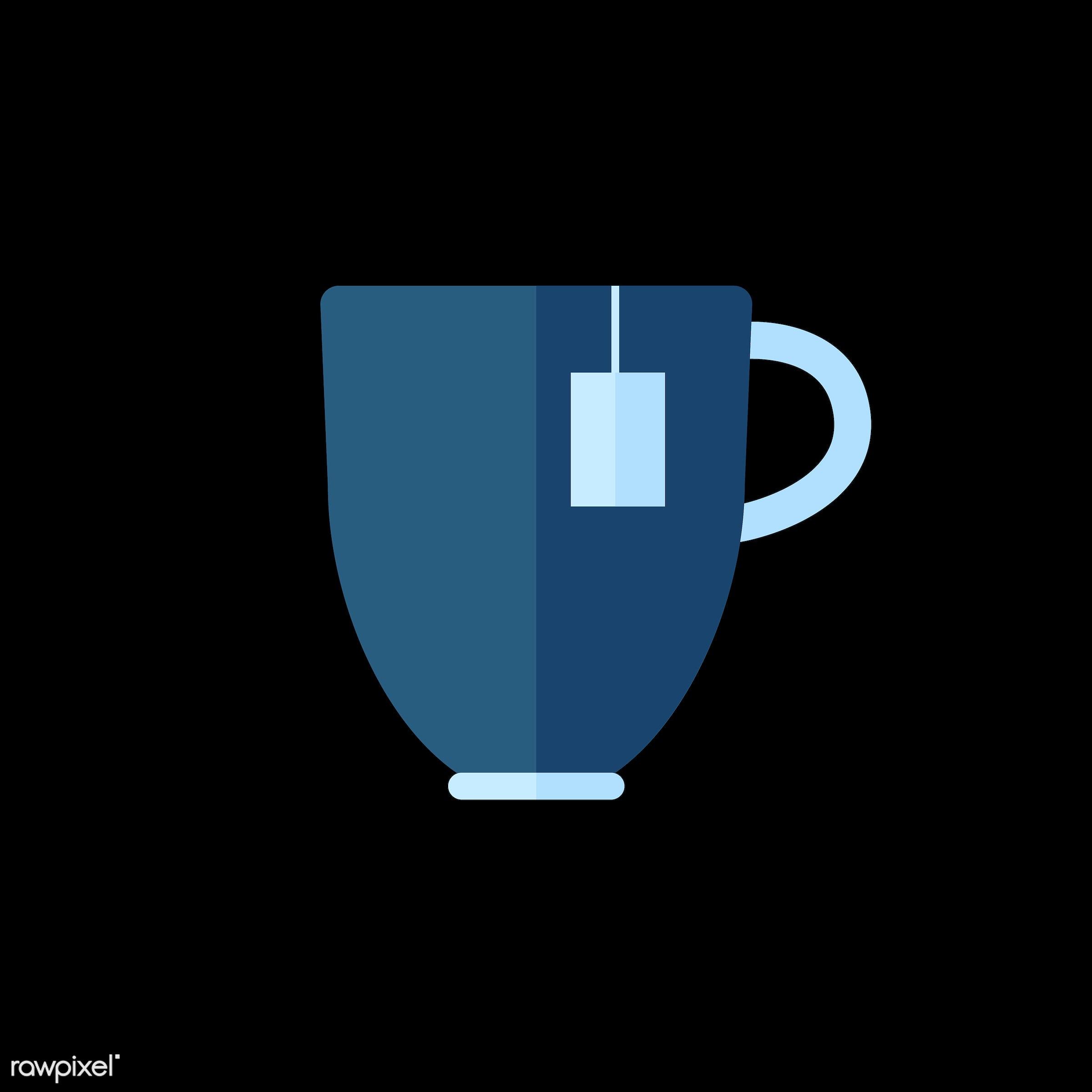 vector, graphic, illustration, icon, symbol, colorful, cute, drink, beverage, water, blue, tea, tea mug, tea bag, tea cup