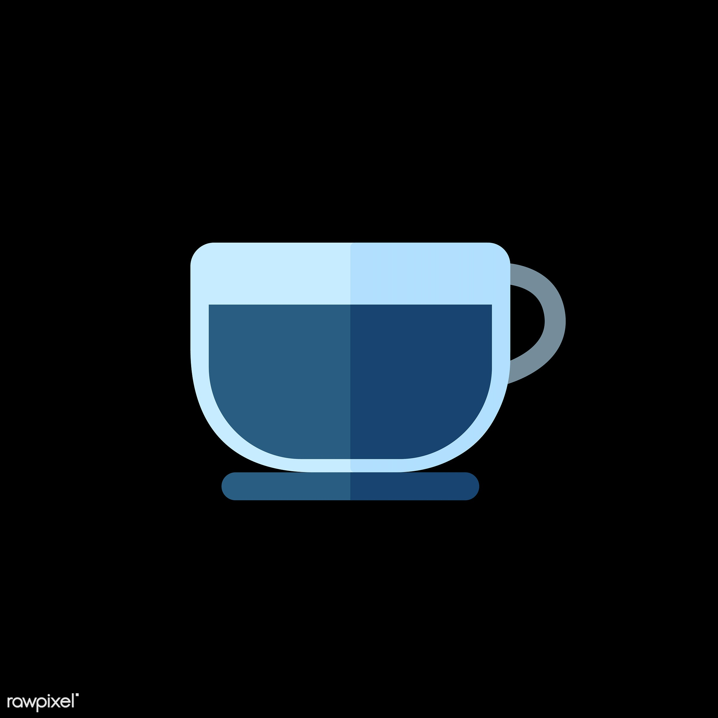 vector, graphic, illustration, icon, symbol, colorful, cute, drink, beverage, water, blue, coffee, coffee cup, coffee mug