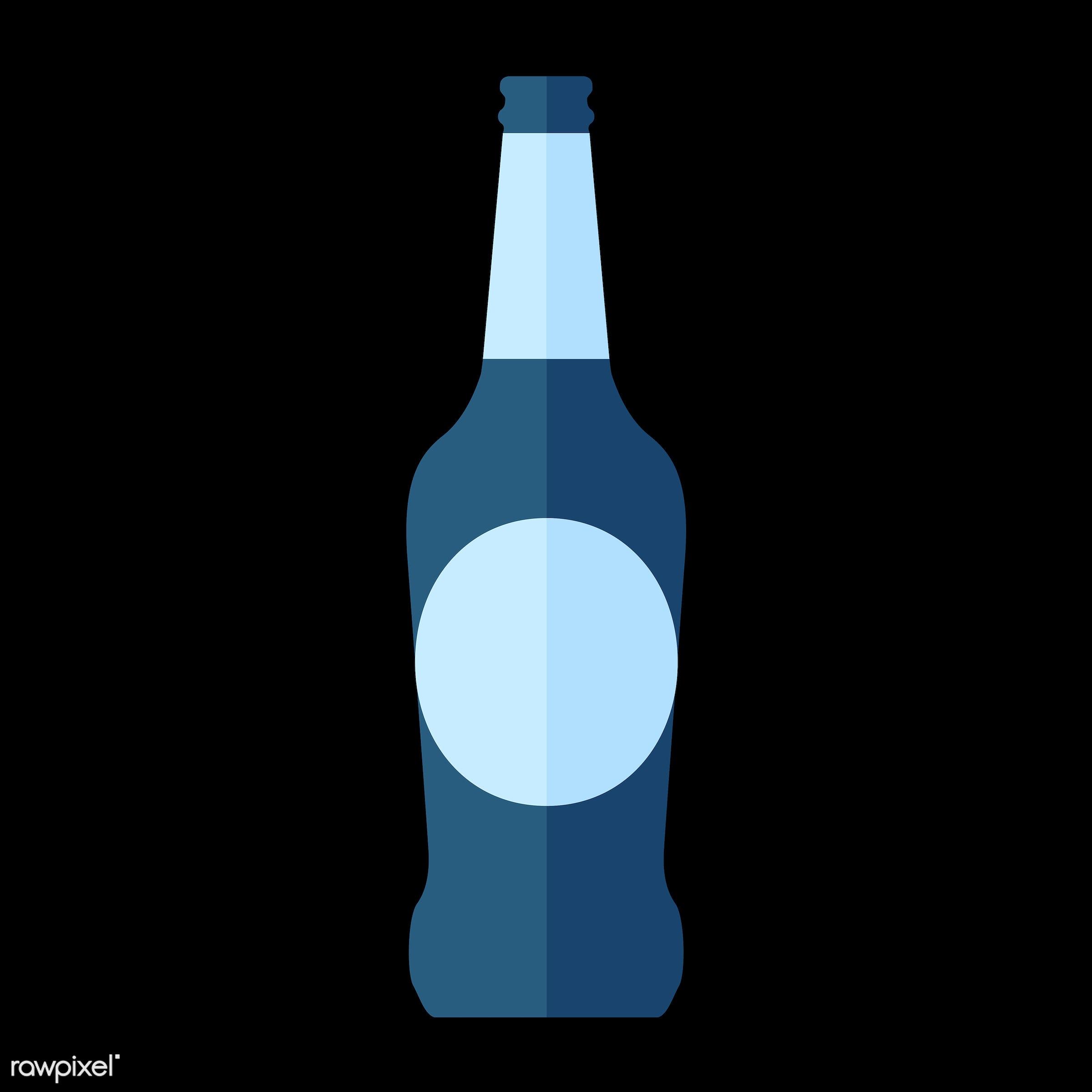 vector, graphic, illustration, icon, symbol, colorful, cute, drink, beverage, water, blue, beer, beer bottle, glass bottle