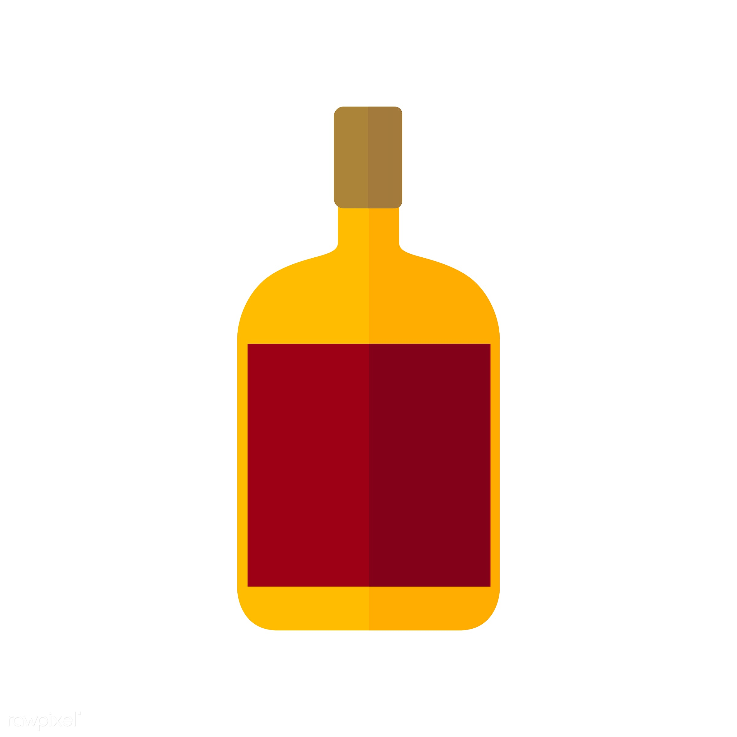 vector, graphic, illustration, icon, symbol, colorful, cute, drink, beverage, water, orange, glass bottle, red, cognac