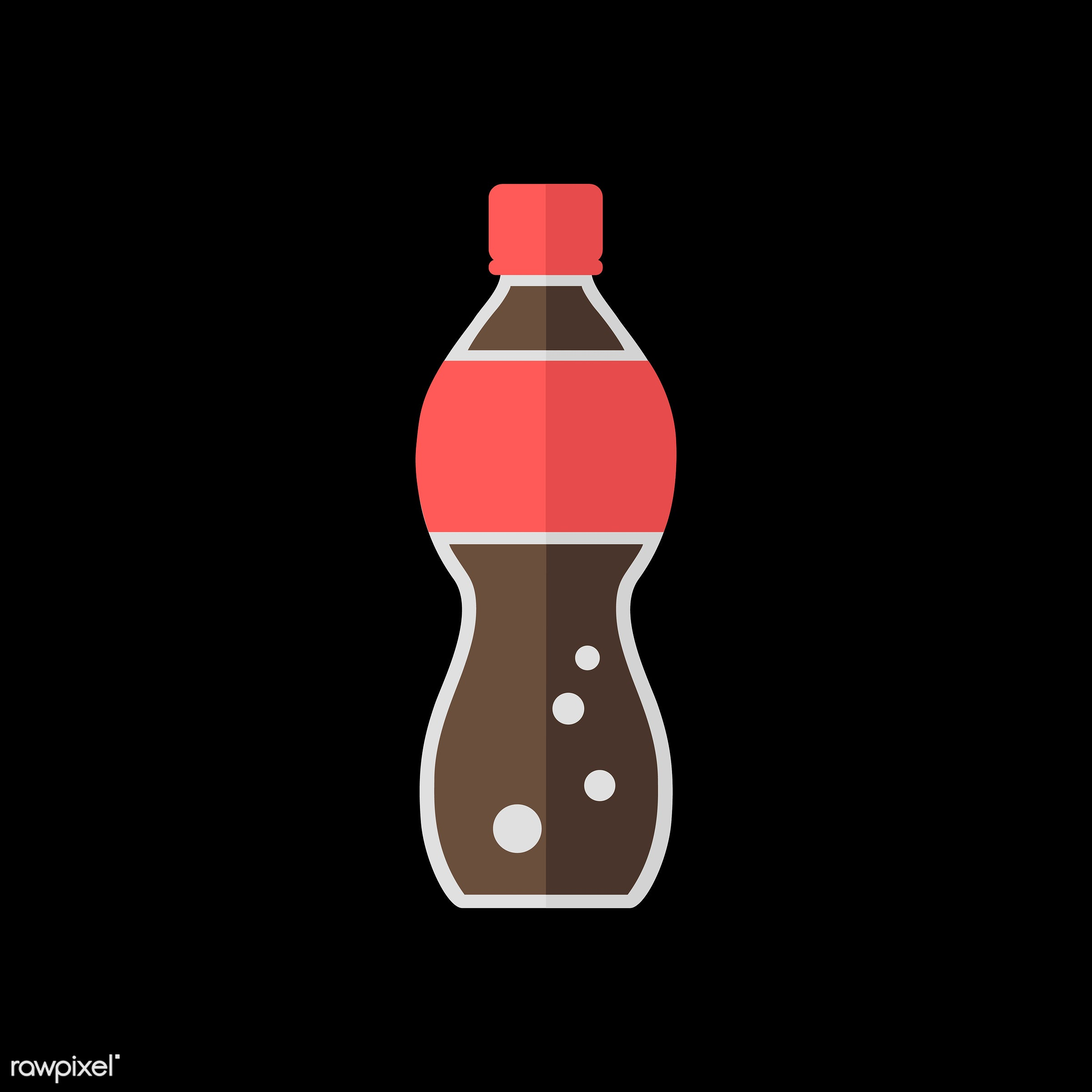 Soda bottle vector - vector, graphic, illustration, icon, symbol, colorful, cute, cola, soda, red, brown, black, drink,...