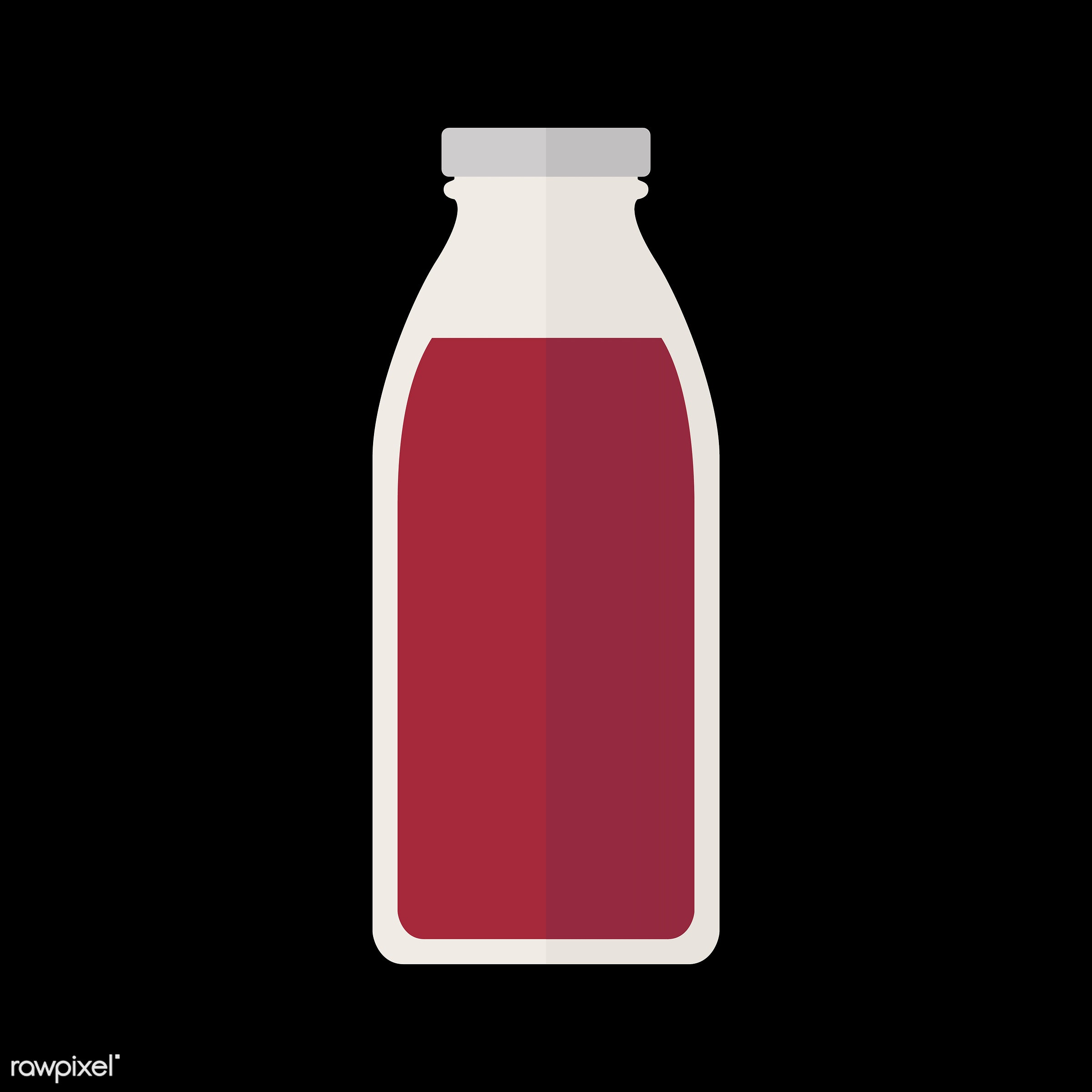 vector, graphic, illustration, icon, symbol, colorful, cute, drink, beverage, water, bottle, red, glass bottle