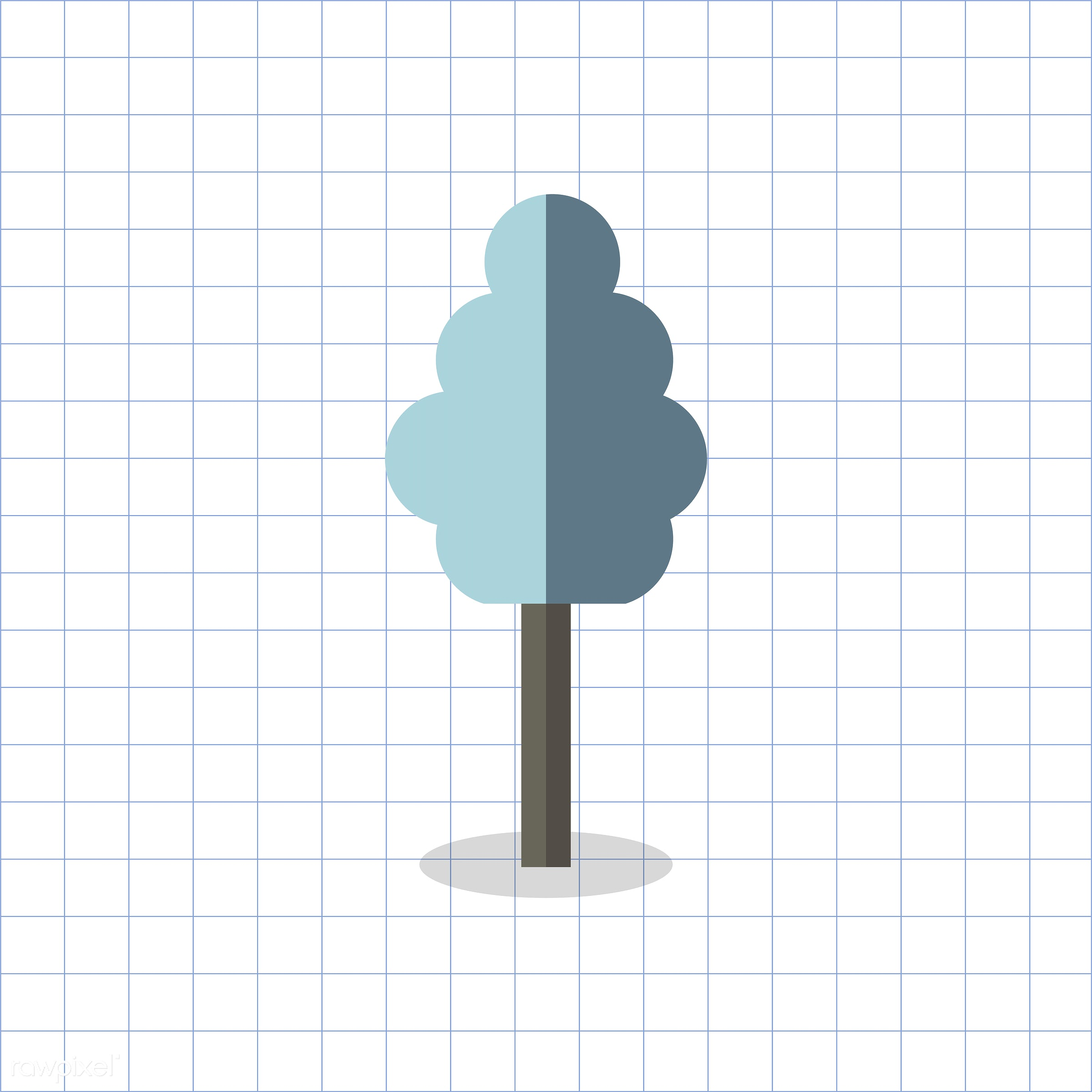 vector, graphic, illustration, icon, symbol, colorful, cute, plant, tree, nature, blue