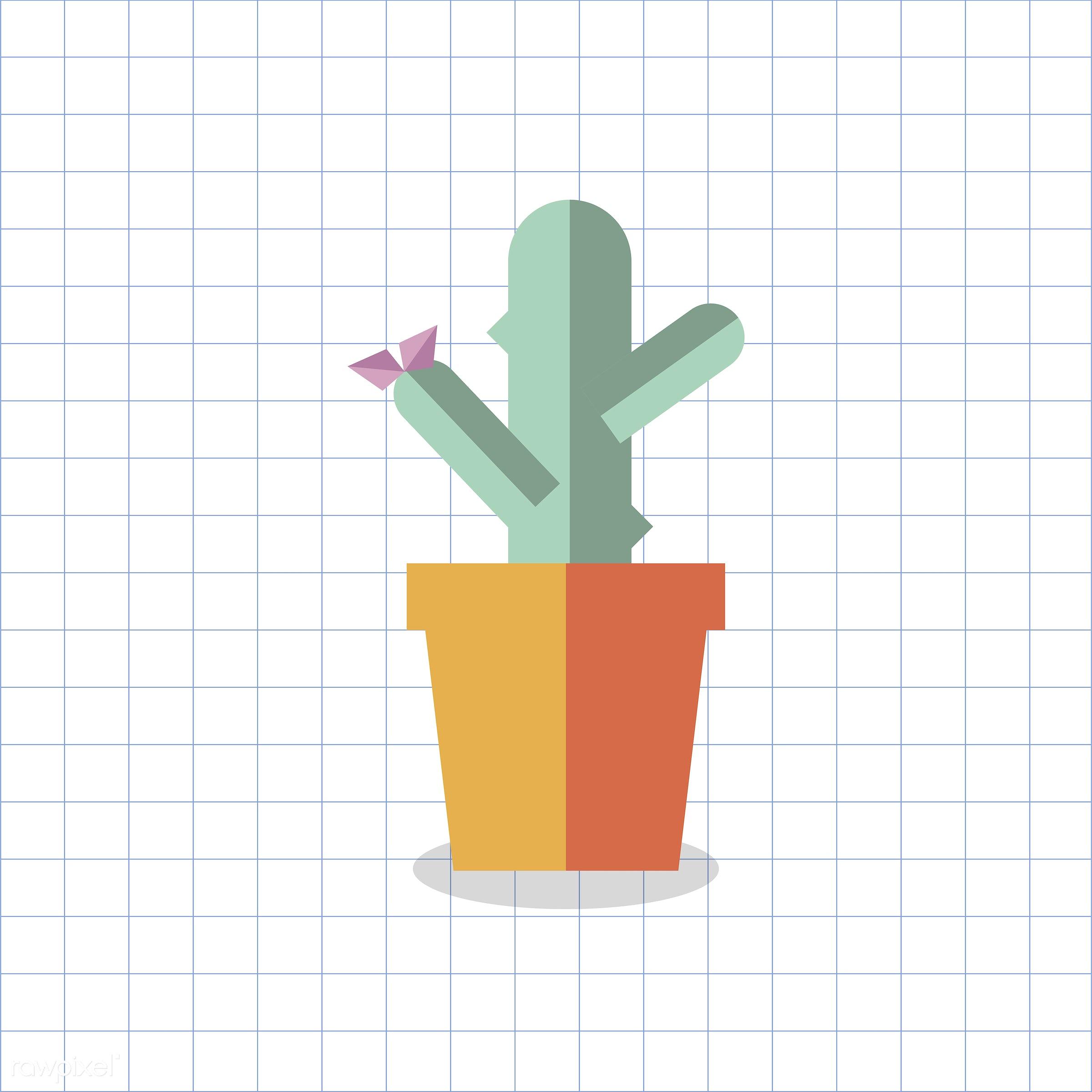 vector, graphic, illustration, icon, symbol, colorful, cute, plant, tree, nature, cactus, cacti, planted, pot, orange