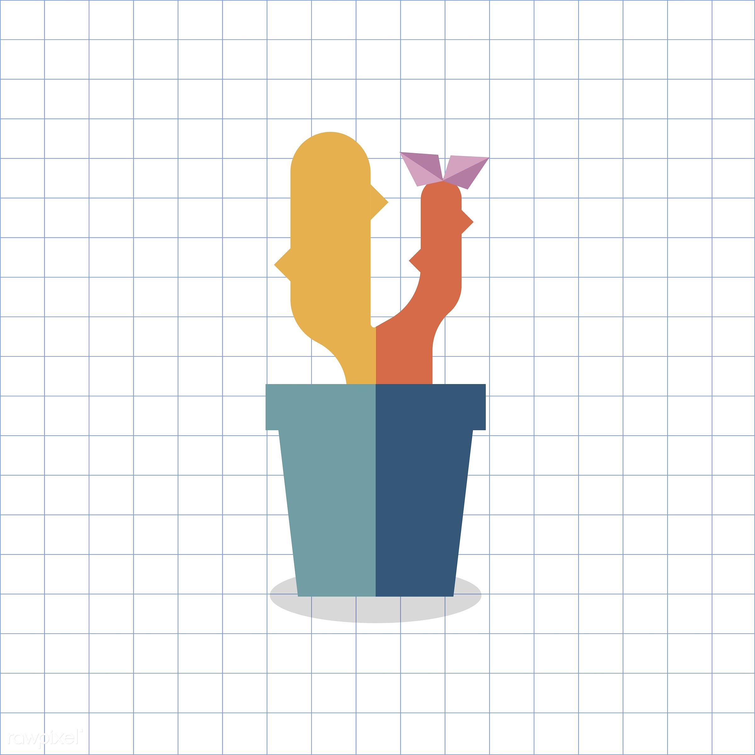vector, graphic, illustration, icon, symbol, colorful, cute, plant, tree, nature, cactus, cacti, planted, pot, blue, orange