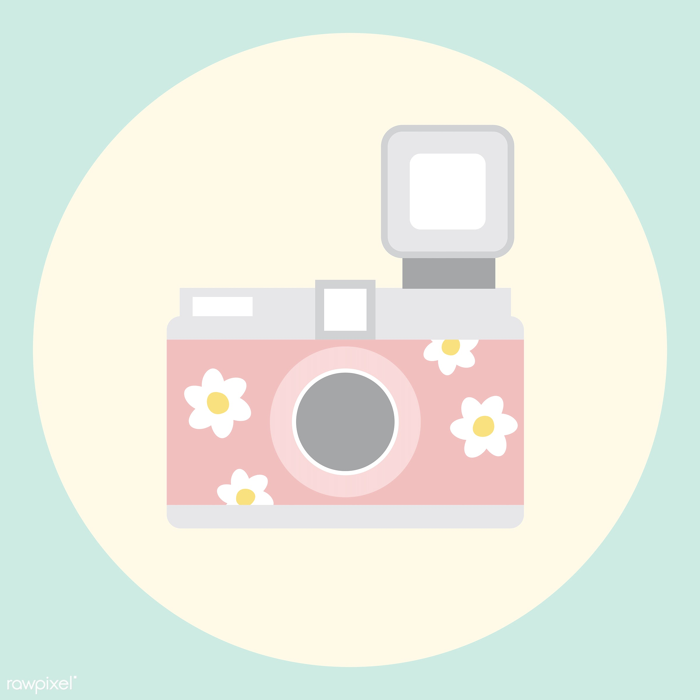 vector, illustration, graphic, cute, sweet, girly, pastel, camera, analog, feminine, colorful, pastel colored