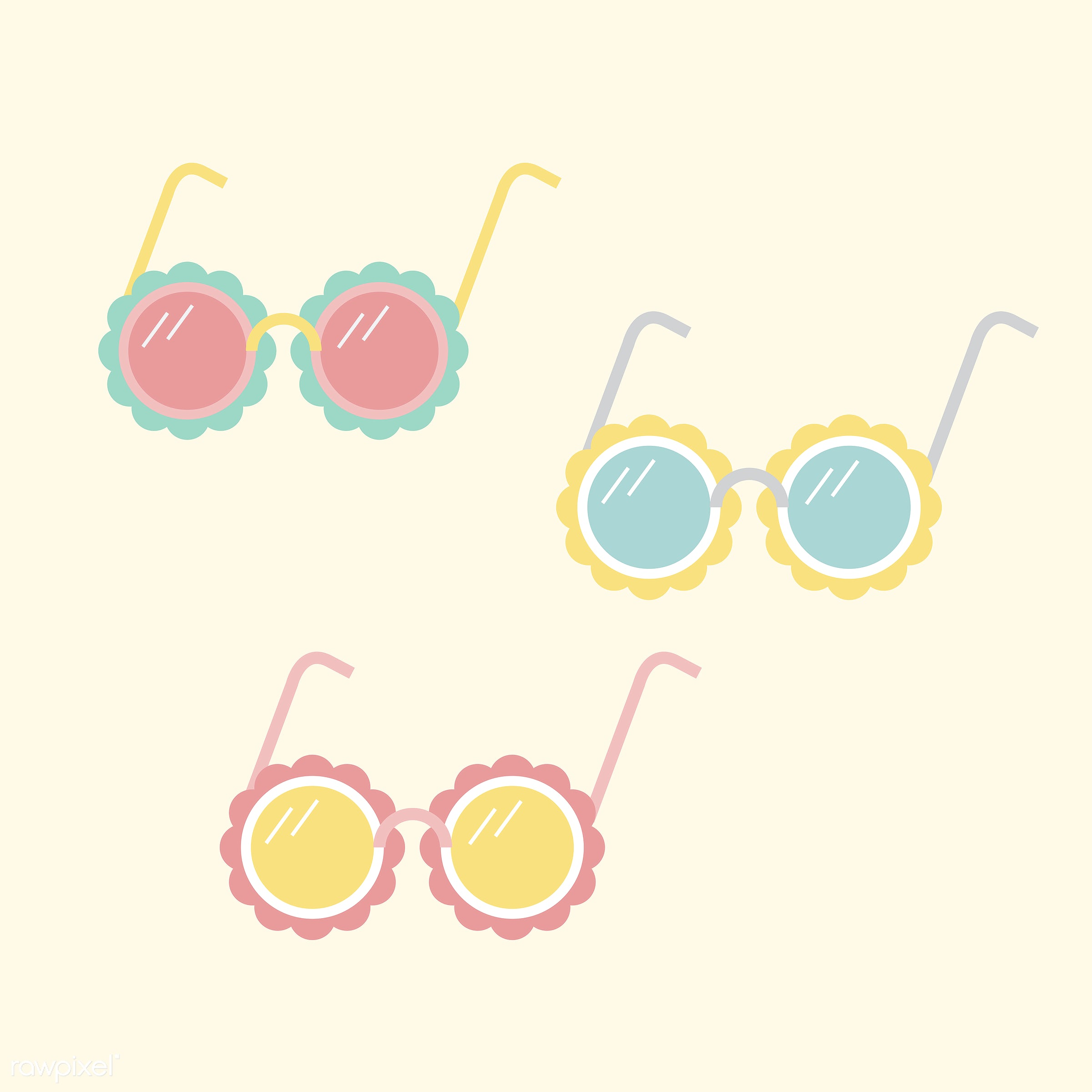 vector, illustration, graphic, cute, sweet, girly, pastel, sunglasses, glasses, isolated, pastel colored, style, summer,...