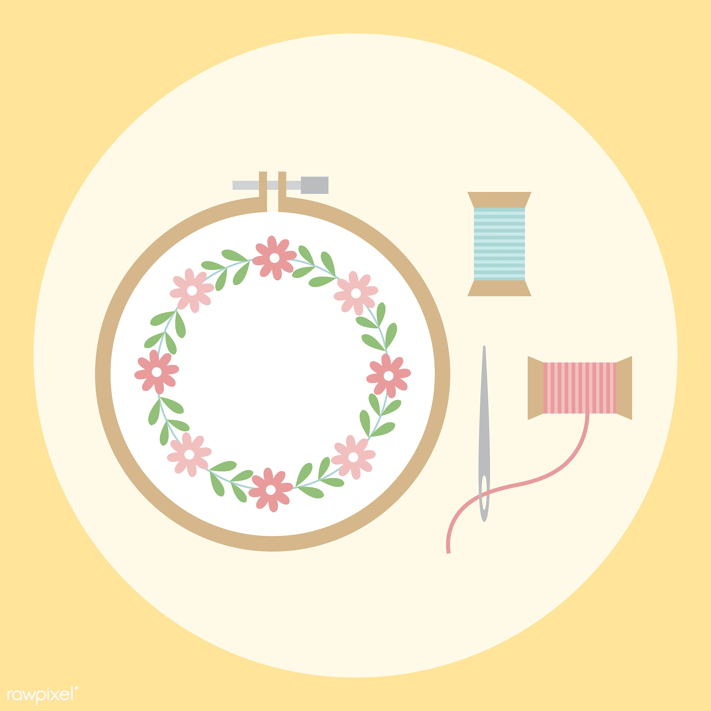 Collection of technology vectors - vector, illustration, graphic, cute, sweet, girly, pastel, sewing, stitching, embroidery