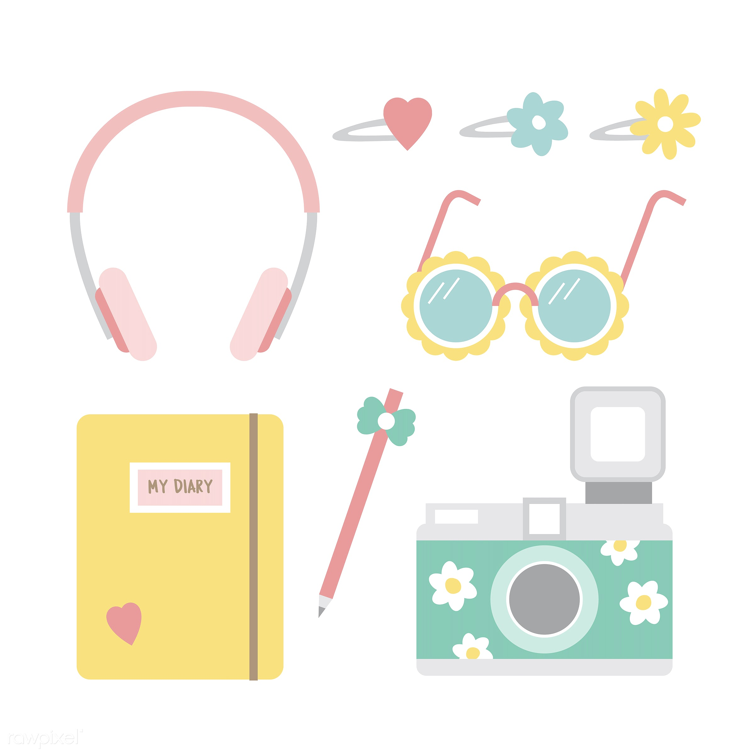 pastel, analog, camera, collection, cute, diary, girly, graphic, hobbies, illustration, leisure, notebook, notes, relaxation...