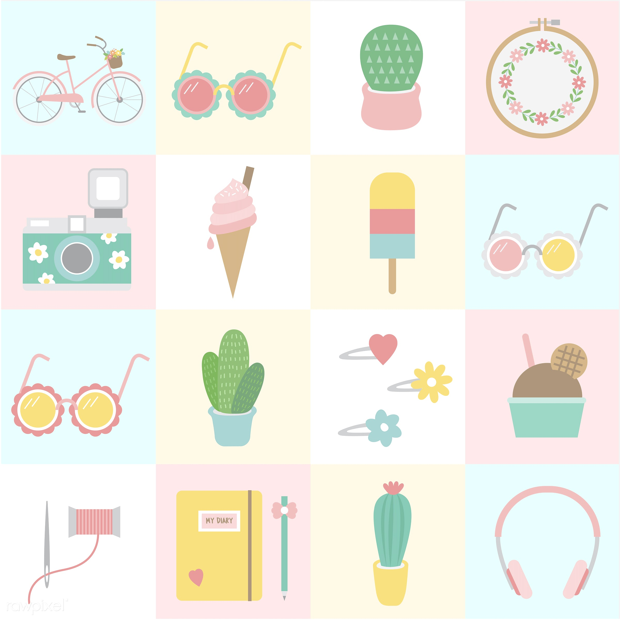 Collection of technology vectors - vector, illustration, graphic, cute, sweet, girly, pastel, collection, set, summer,...