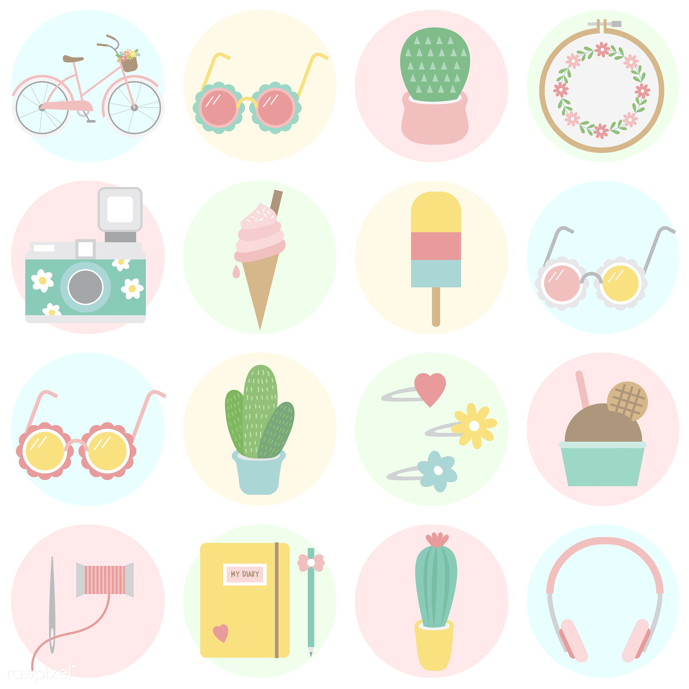 vector, illustration, graphic, cute, sweet, girly, pastel, collection, set, summer, summertime, hobbies, leisure, relaxation...