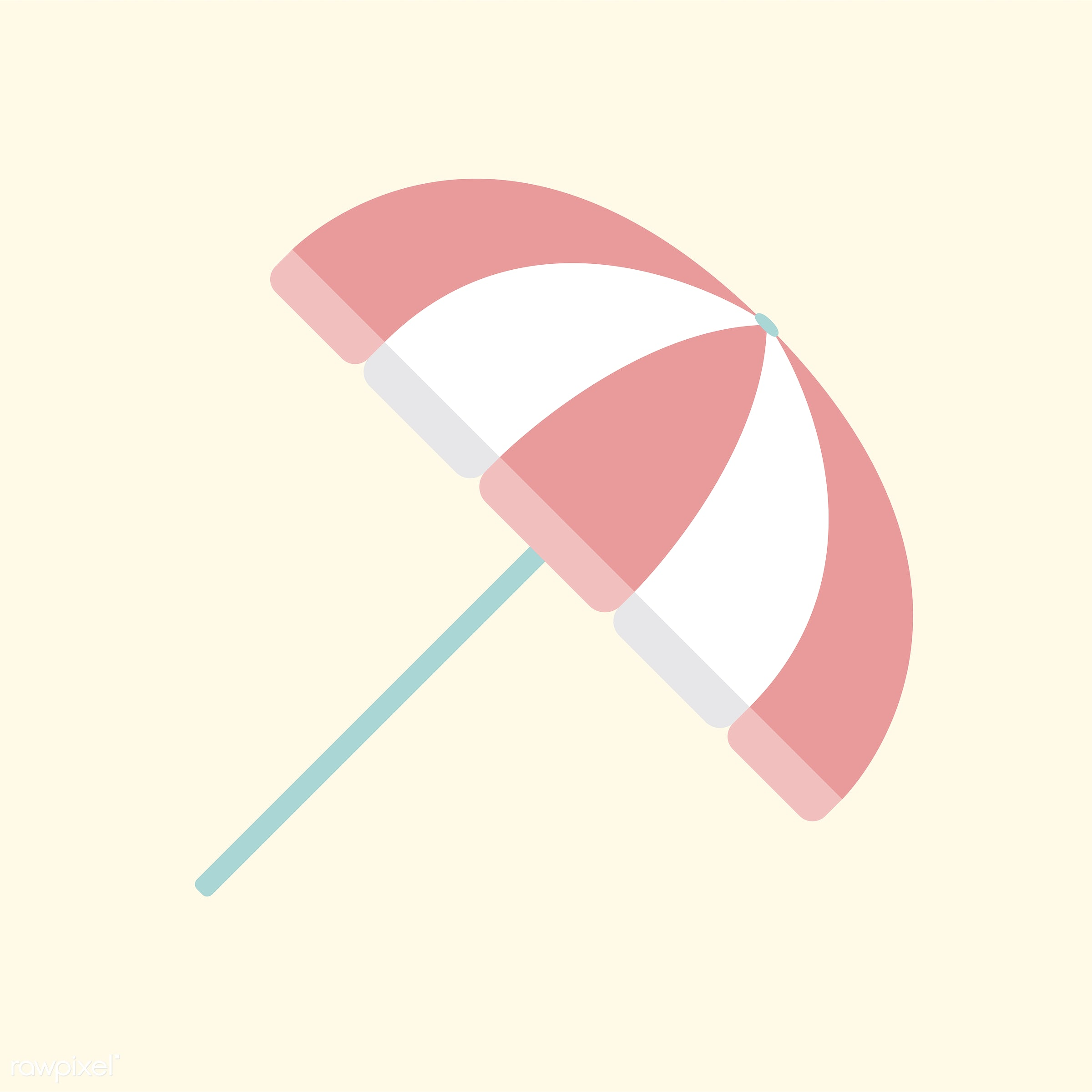 vector, illustration, graphic, cute, sweet, girly, pastel, umbrella, parasol, summer, isolated, style