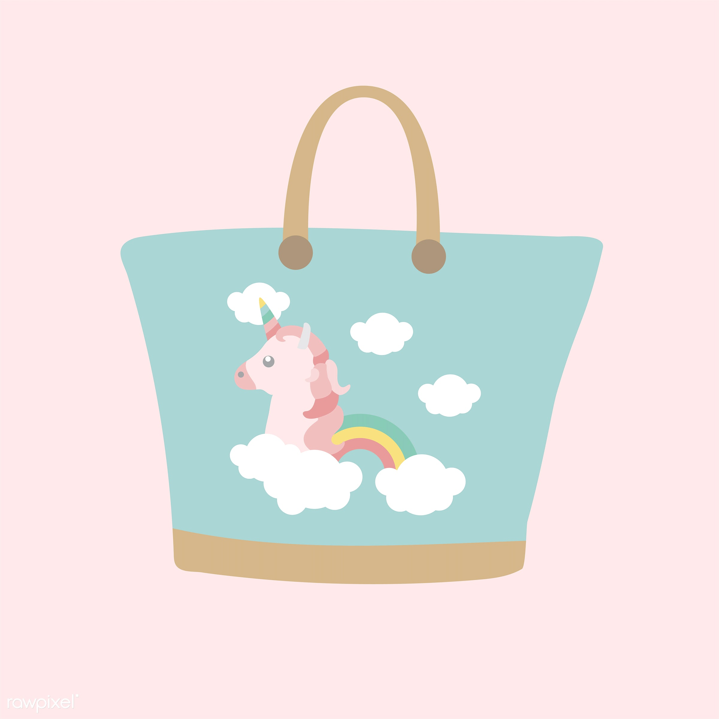 vector, illustration, graphic, cute, sweet, girly, pastel, unicorn, bag, rainbow, beach bag