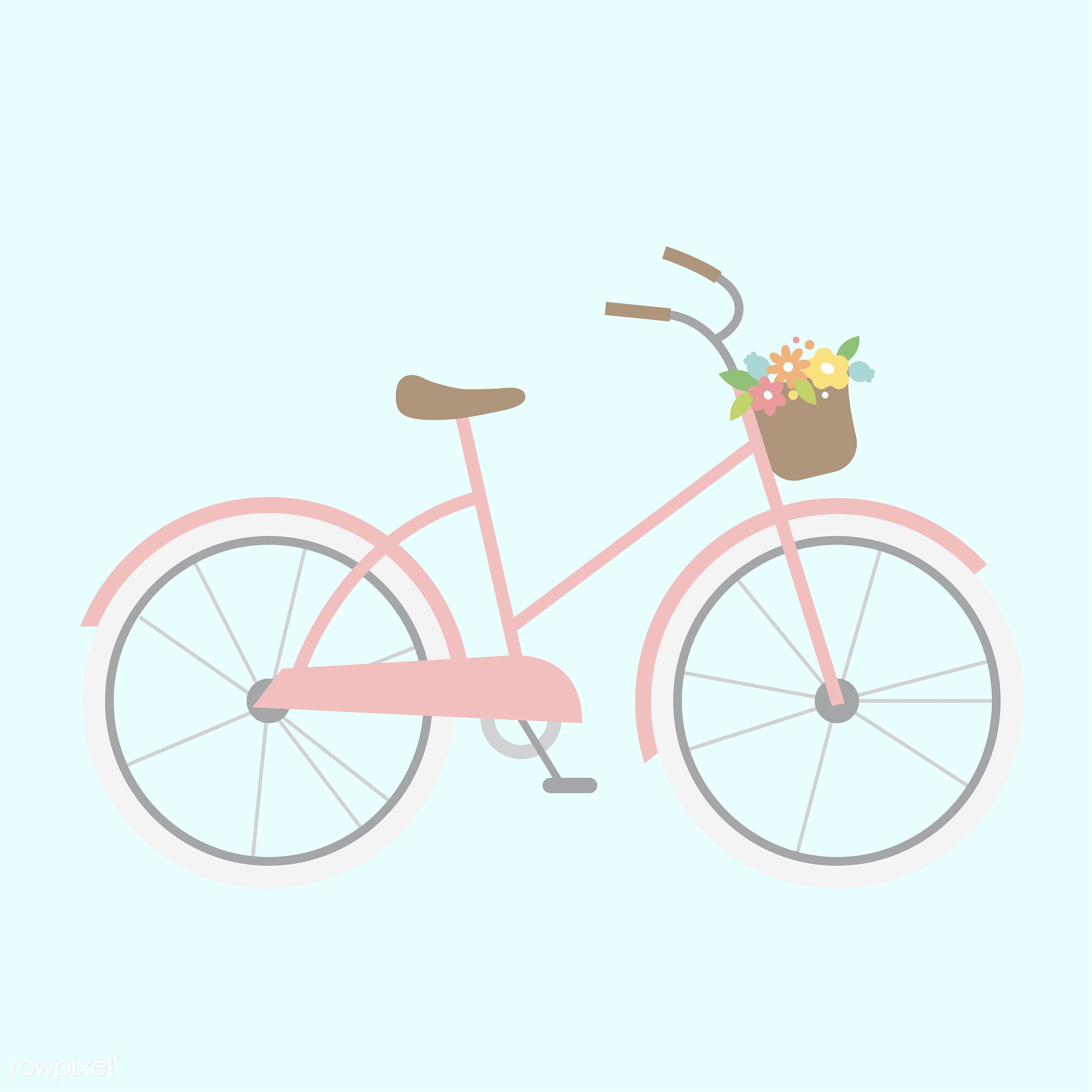 vector, illustration, graphic, cute, sweet, girly, pastel, bicycle, biking, cycling, bike
